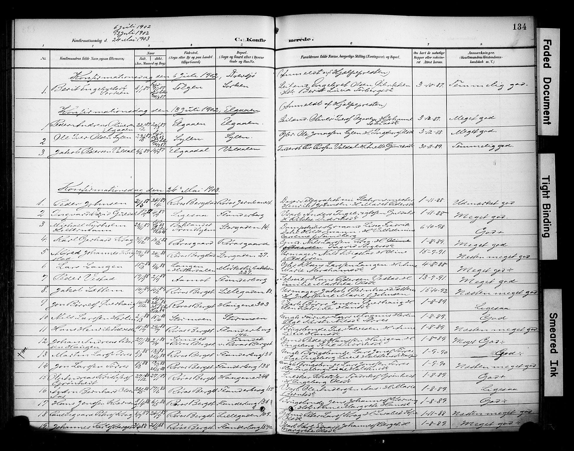 SAT, Ministerialprotokoller, klokkerbøker og fødselsregistre - Sør-Trøndelag, 681/L0936: Ministerialbok nr. 681A14, 1899-1908, s. 134