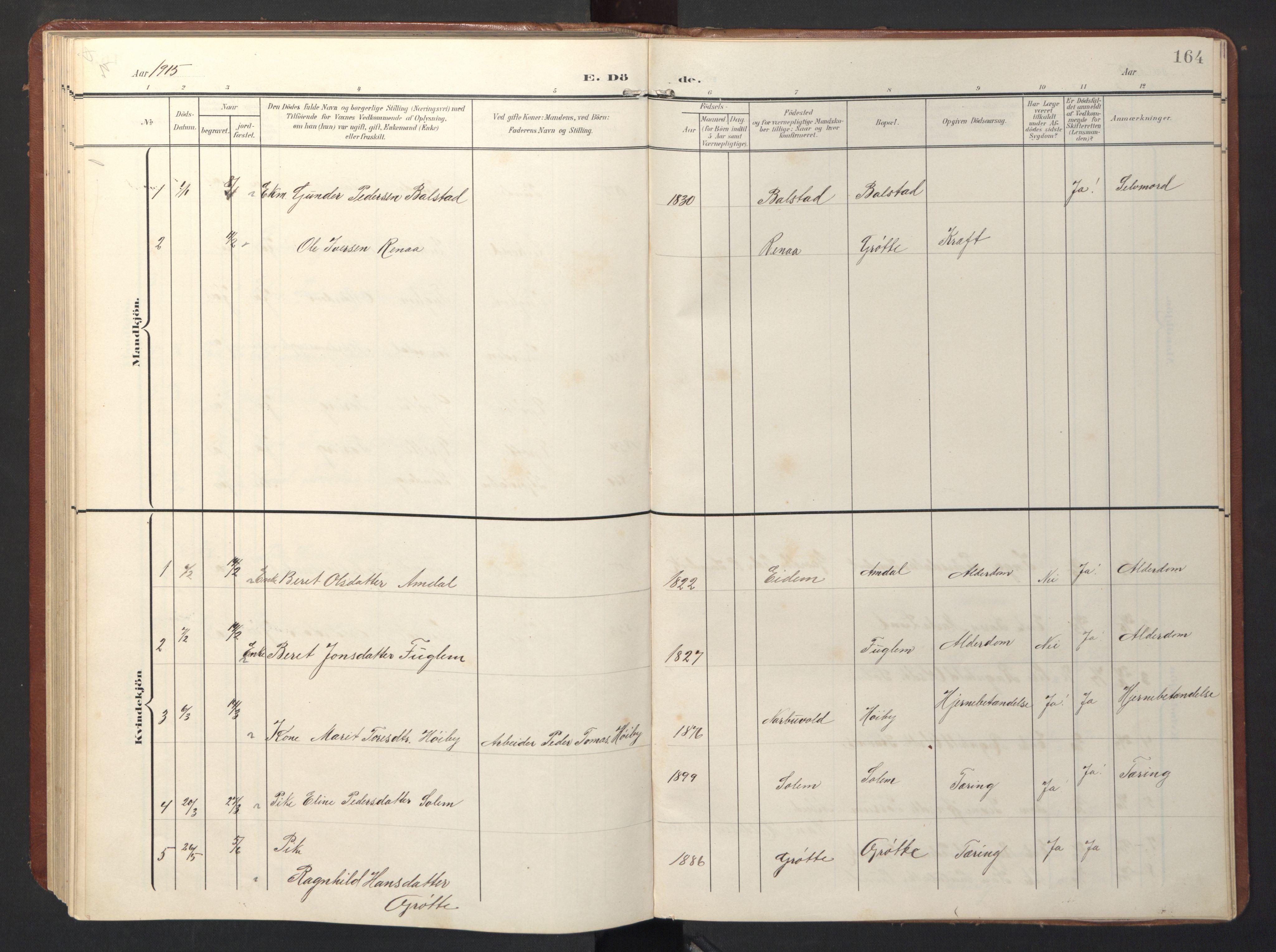 SAT, Ministerialprotokoller, klokkerbøker og fødselsregistre - Sør-Trøndelag, 696/L1161: Klokkerbok nr. 696C01, 1902-1950, s. 164