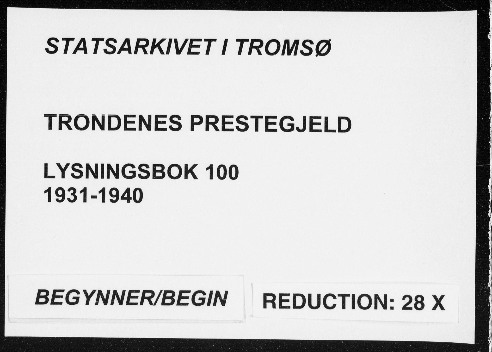 SATØ, Trondenes sokneprestkontor, I/Ib/L0100: Lysningsprotokoll nr. 100, 1931-1940