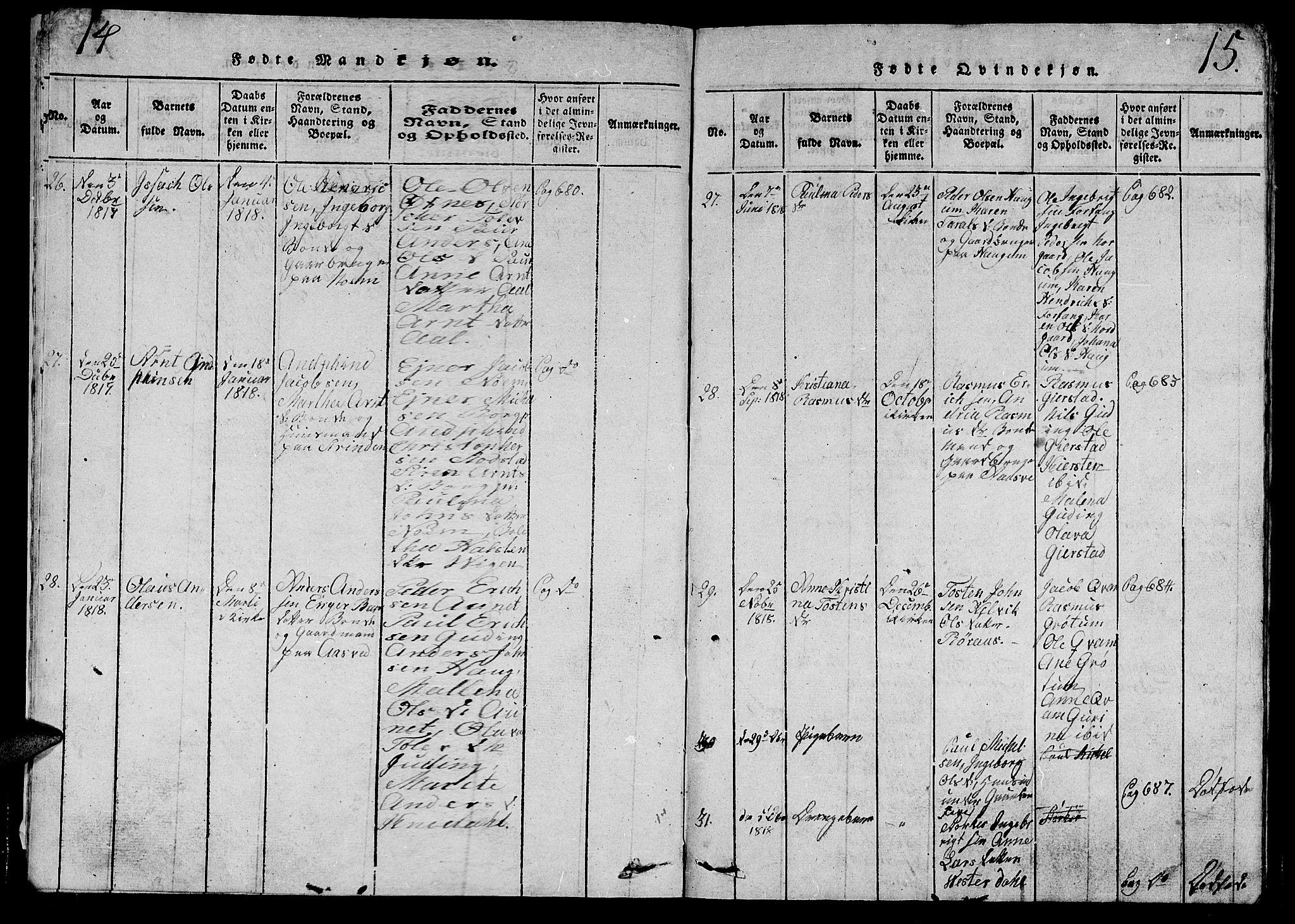 SAT, Ministerialprotokoller, klokkerbøker og fødselsregistre - Nord-Trøndelag, 747/L0459: Klokkerbok nr. 747C01, 1816-1842, s. 14-15