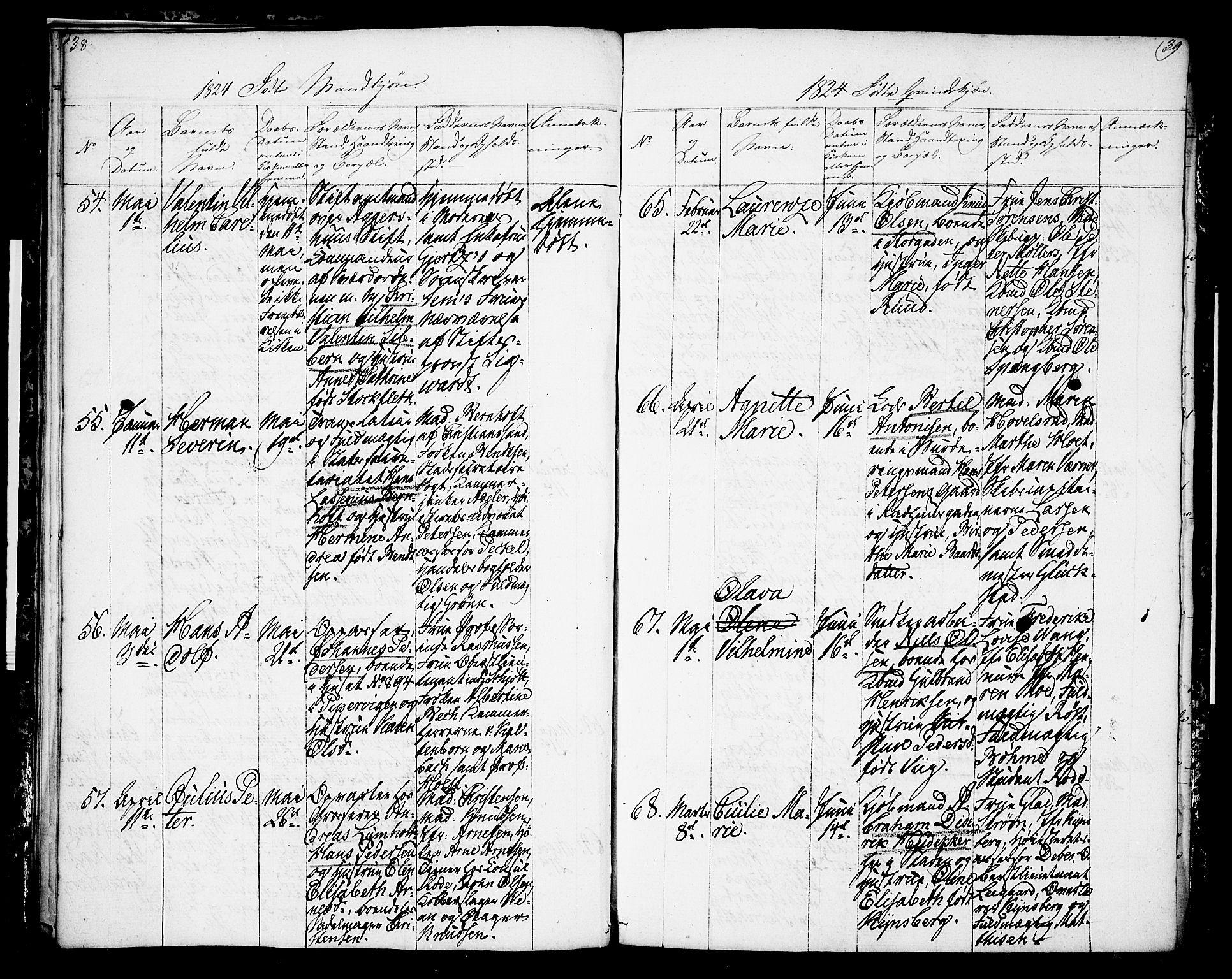 SAO, Oslo domkirke Kirkebøker, F/Fa/L0009: Ministerialbok nr. 9, 1823-1824, s. 38-39