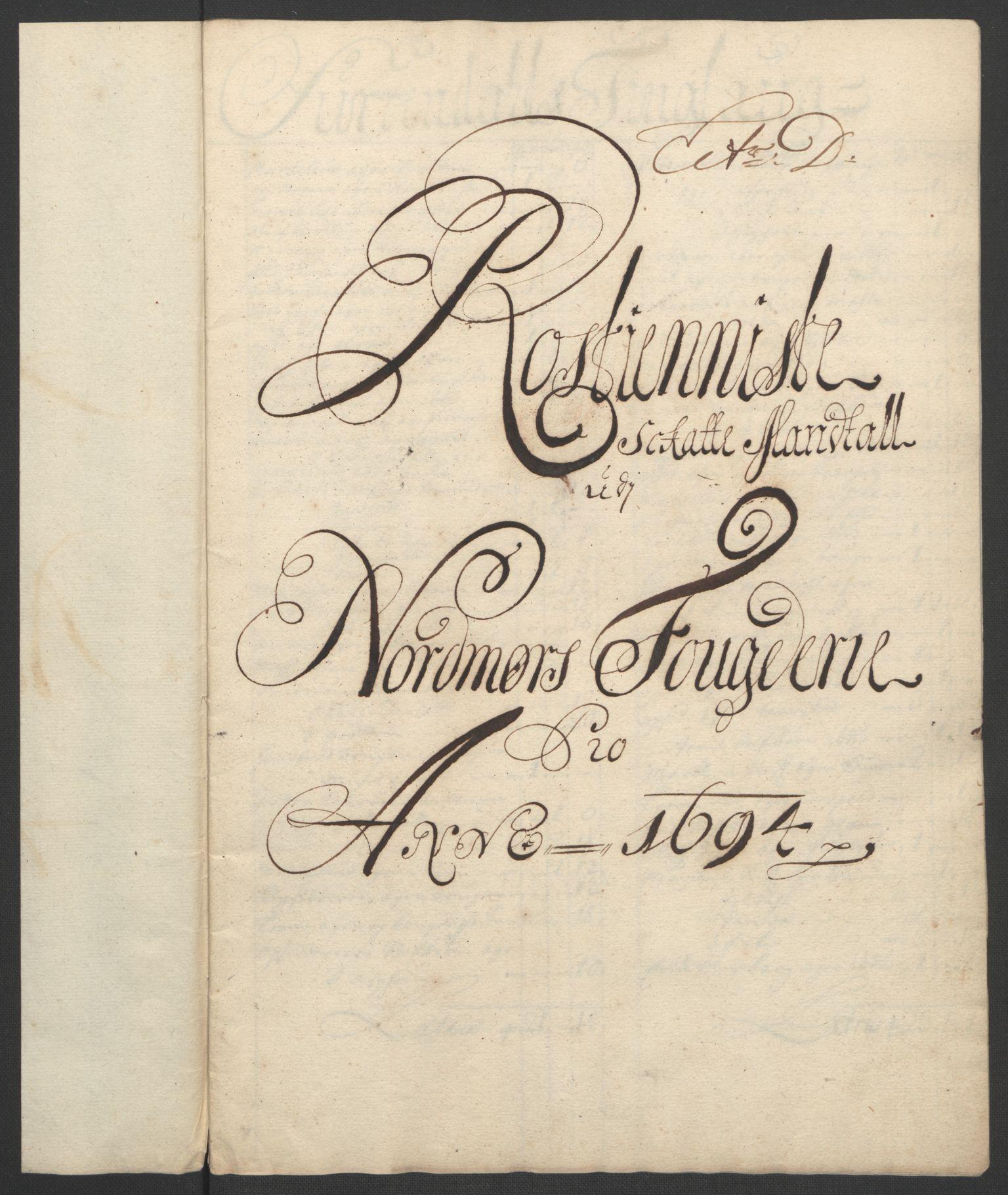 RA, Rentekammeret inntil 1814, Reviderte regnskaper, Fogderegnskap, R56/L3736: Fogderegnskap Nordmøre, 1694-1696, s. 76