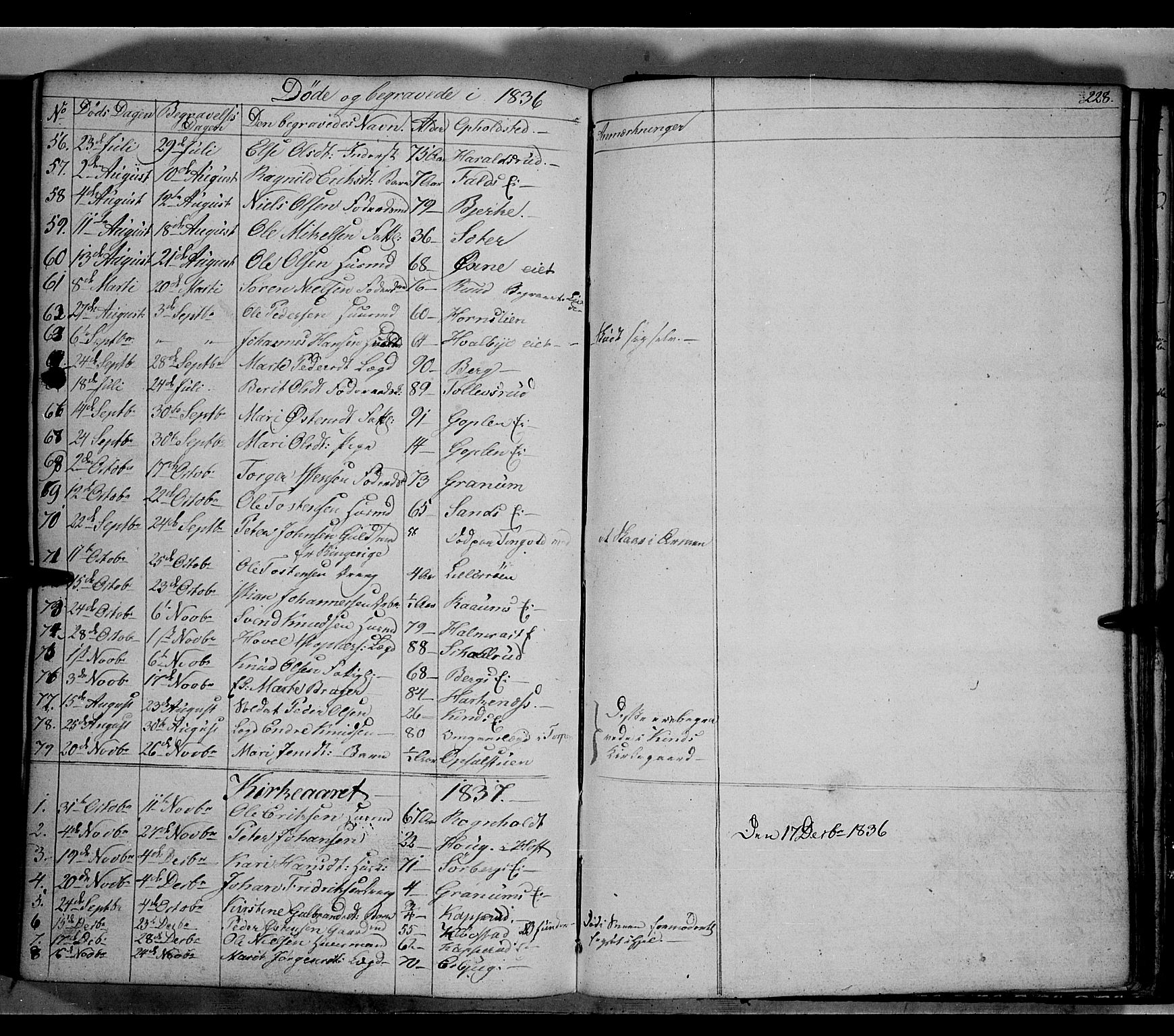 SAH, Land prestekontor, Klokkerbok nr. 2, 1833-1849, s. 228