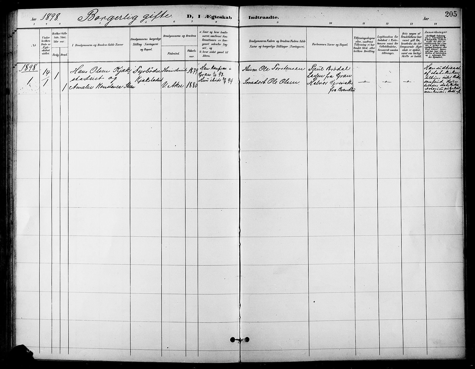 SAH, Gran prestekontor, Ministerialbok nr. 19, 1898-1907, s. 205