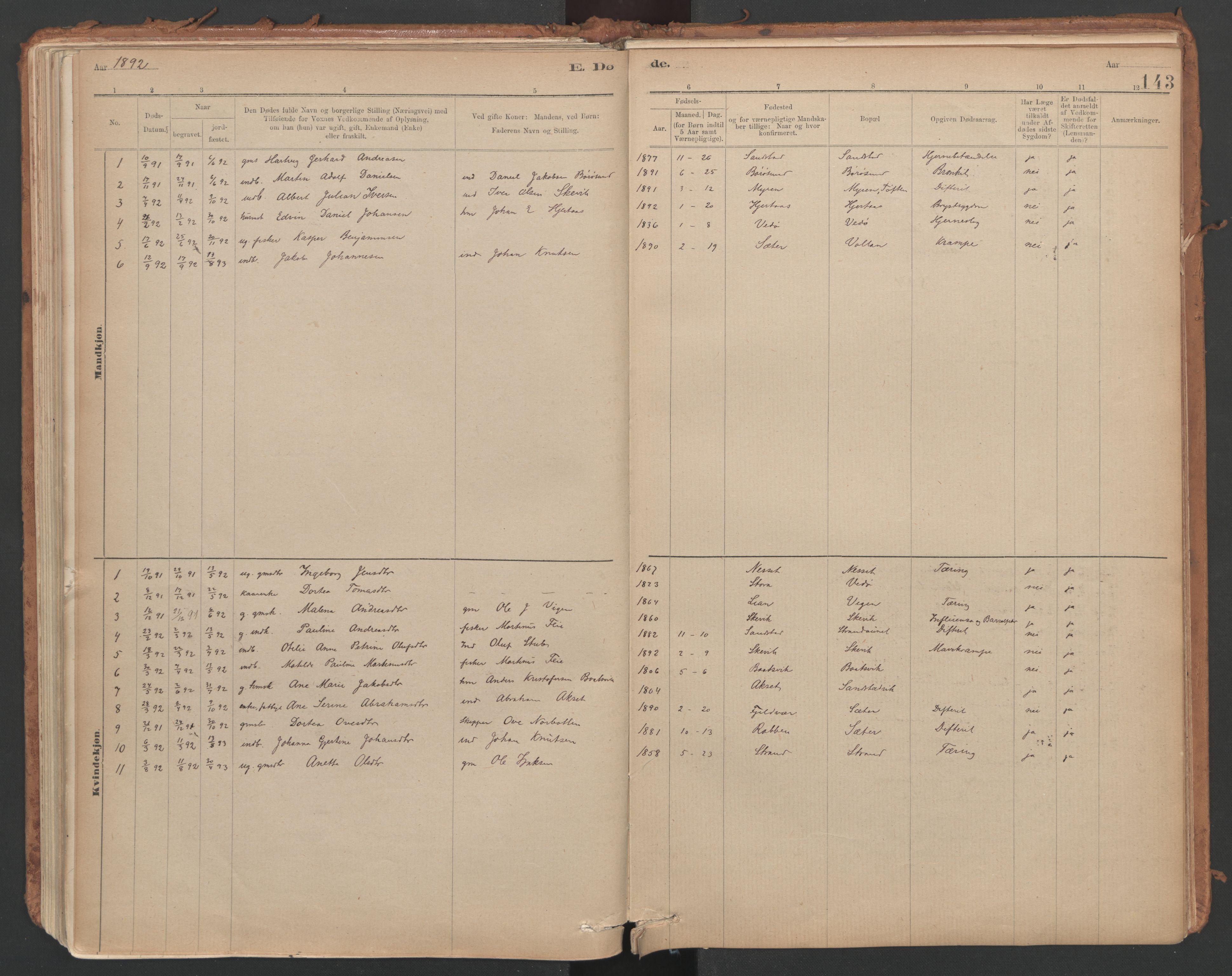 SAT, Ministerialprotokoller, klokkerbøker og fødselsregistre - Sør-Trøndelag, 639/L0572: Ministerialbok nr. 639A01, 1890-1920, s. 143