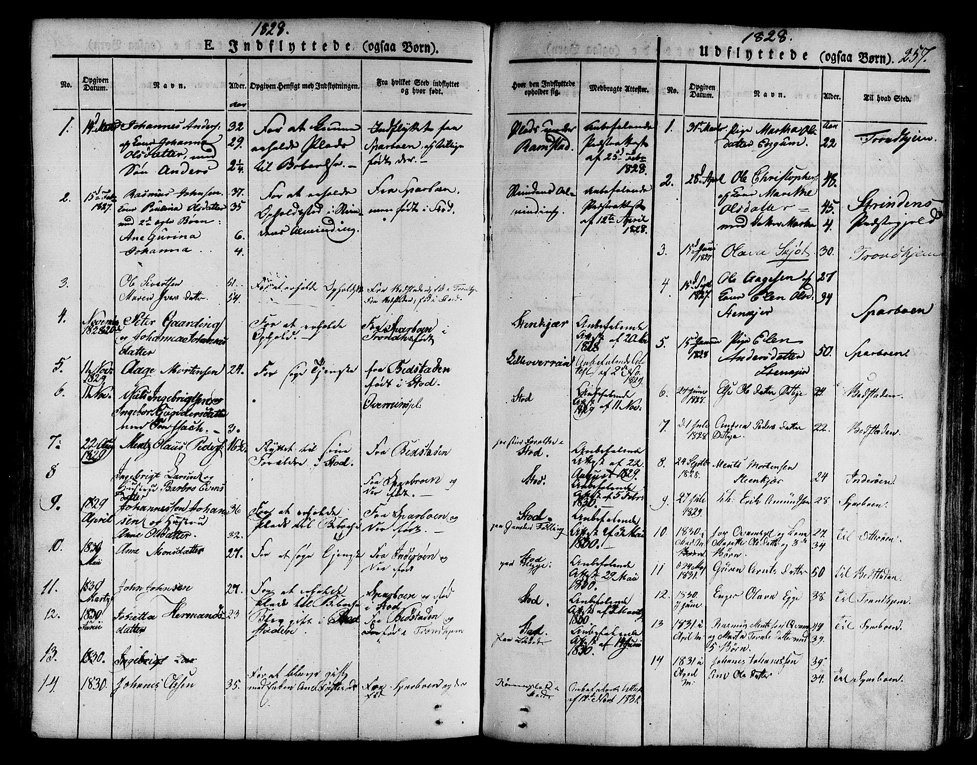 SAT, Ministerialprotokoller, klokkerbøker og fødselsregistre - Nord-Trøndelag, 746/L0445: Ministerialbok nr. 746A04, 1826-1846, s. 257