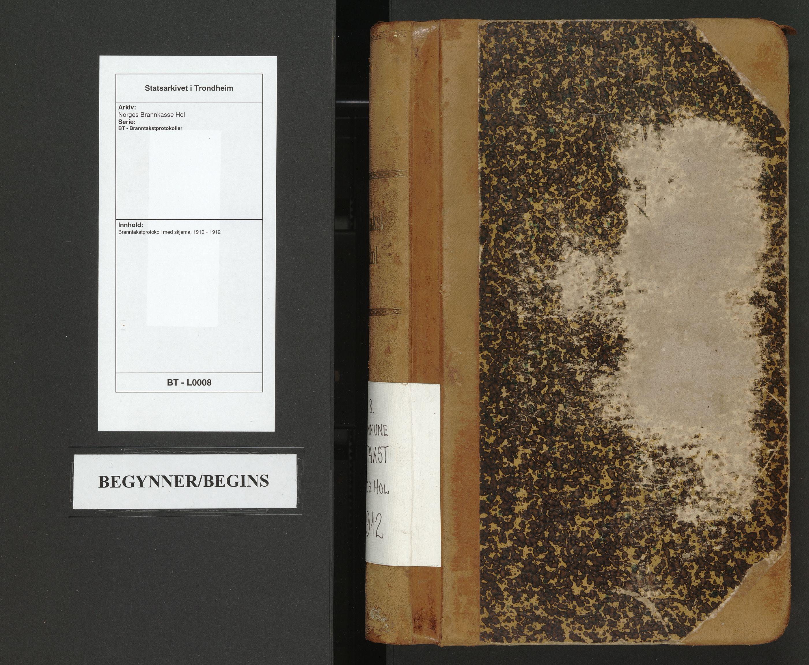 SAT, Norges Brannkasse Hol, BT/L0008: Branntakstprotokoll med skjema, 1910-1912