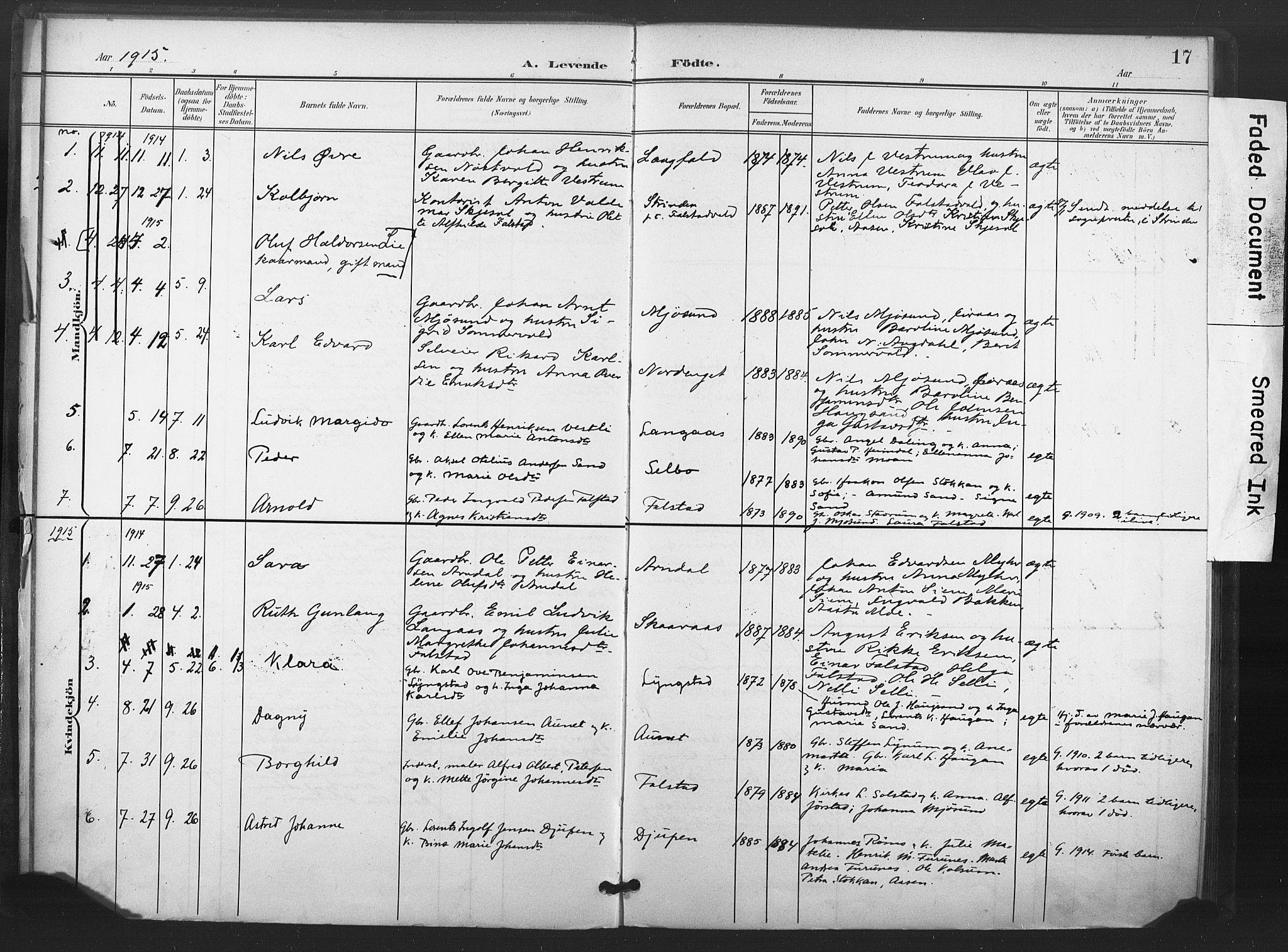 SAT, Ministerialprotokoller, klokkerbøker og fødselsregistre - Nord-Trøndelag, 719/L0179: Ministerialbok nr. 719A02, 1901-1923, s. 17