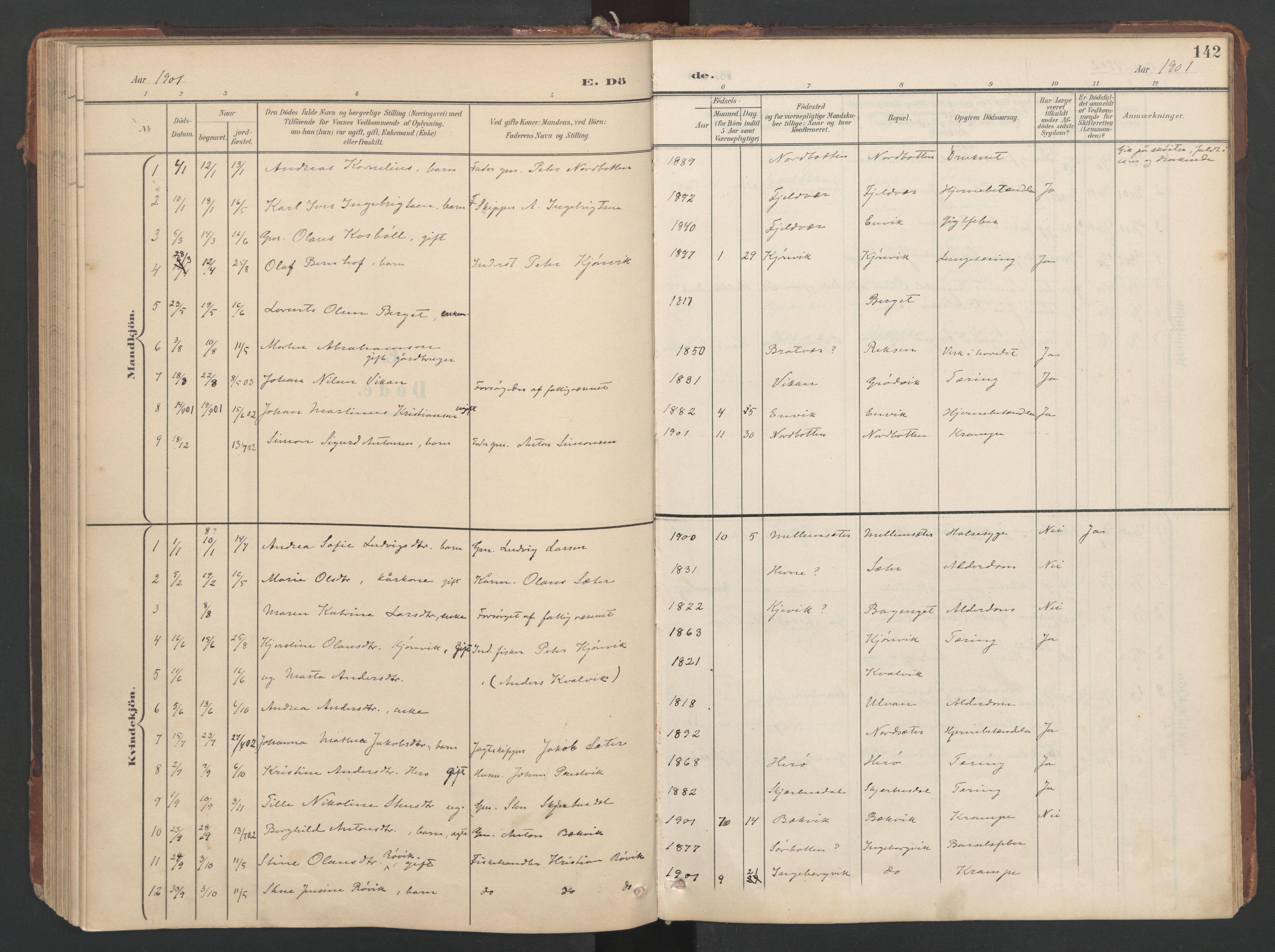 SAT, Ministerialprotokoller, klokkerbøker og fødselsregistre - Sør-Trøndelag, 638/L0568: Ministerialbok nr. 638A01, 1901-1916, s. 142
