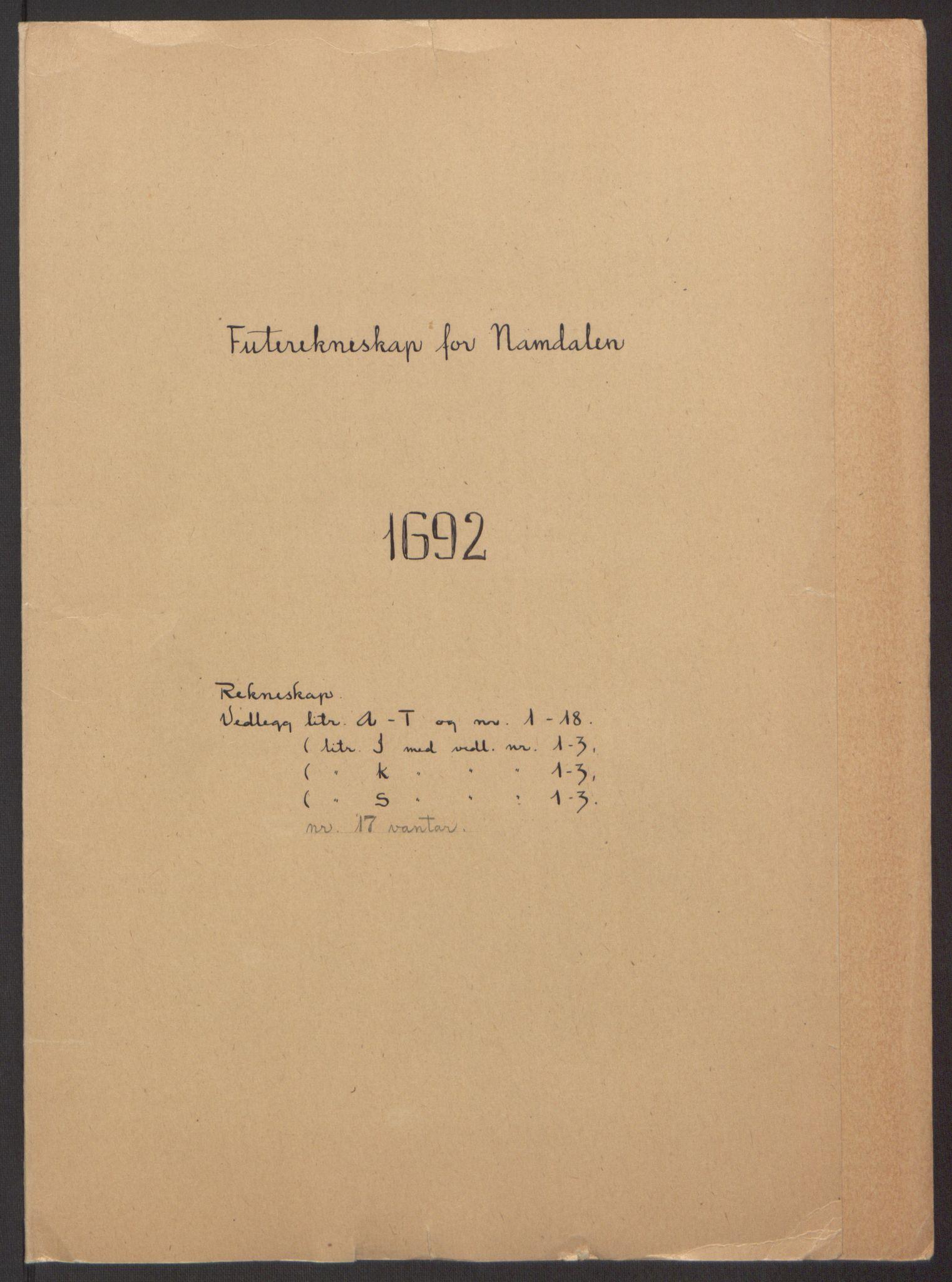 RA, Rentekammeret inntil 1814, Reviderte regnskaper, Fogderegnskap, R64/L4424: Fogderegnskap Namdal, 1692-1695, s. 2