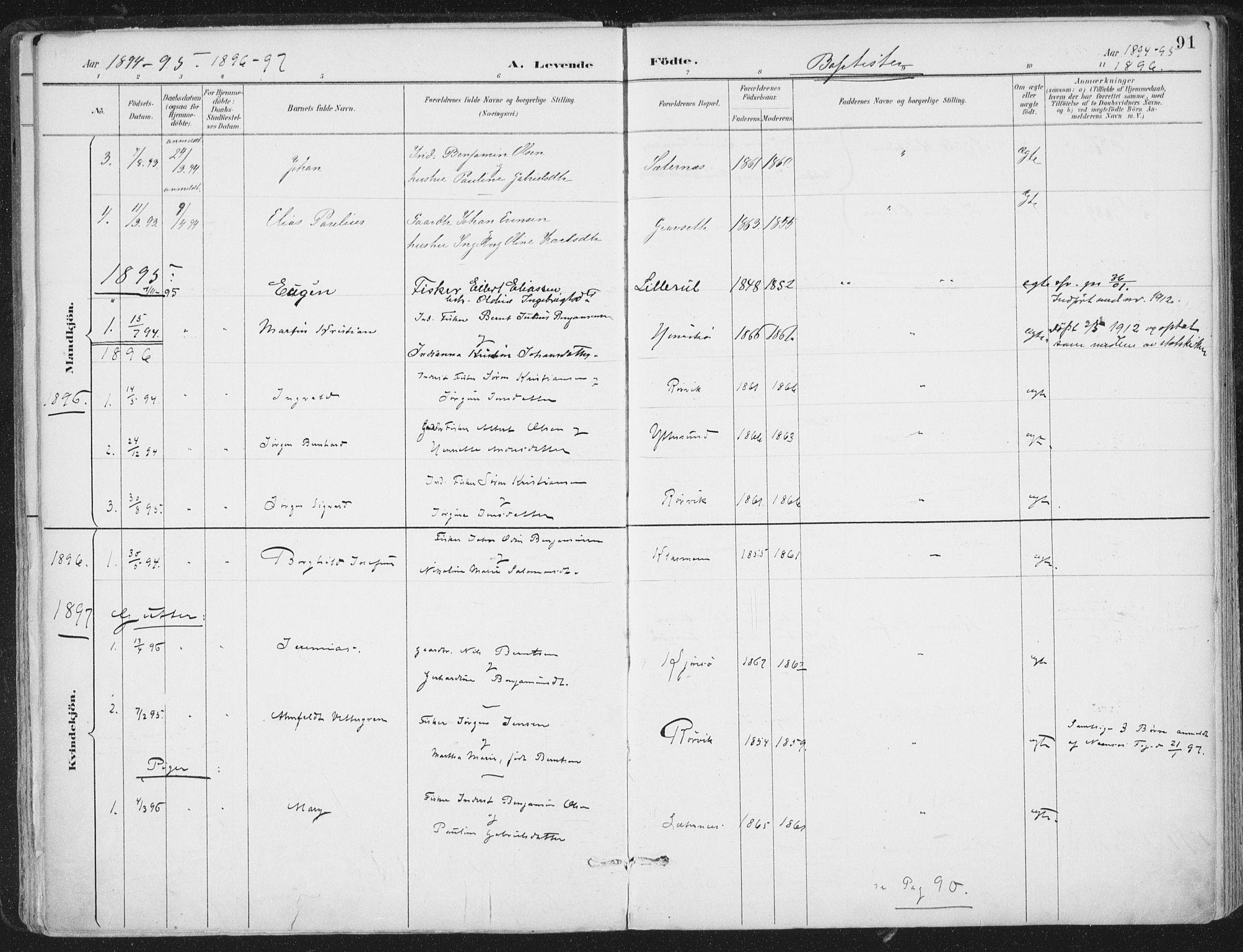SAT, Ministerialprotokoller, klokkerbøker og fødselsregistre - Nord-Trøndelag, 786/L0687: Ministerialbok nr. 786A03, 1888-1898, s. 91