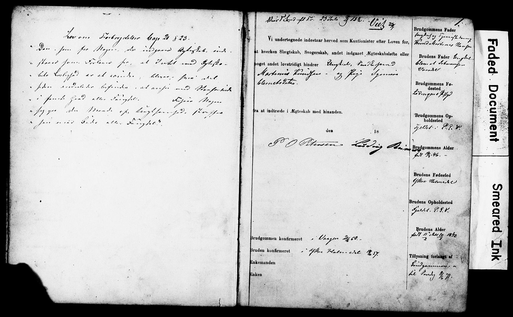 SAB, Korskirken Sokneprestembete, Forlovererklæringer nr. II.5.4, 1871-1878, s. 1