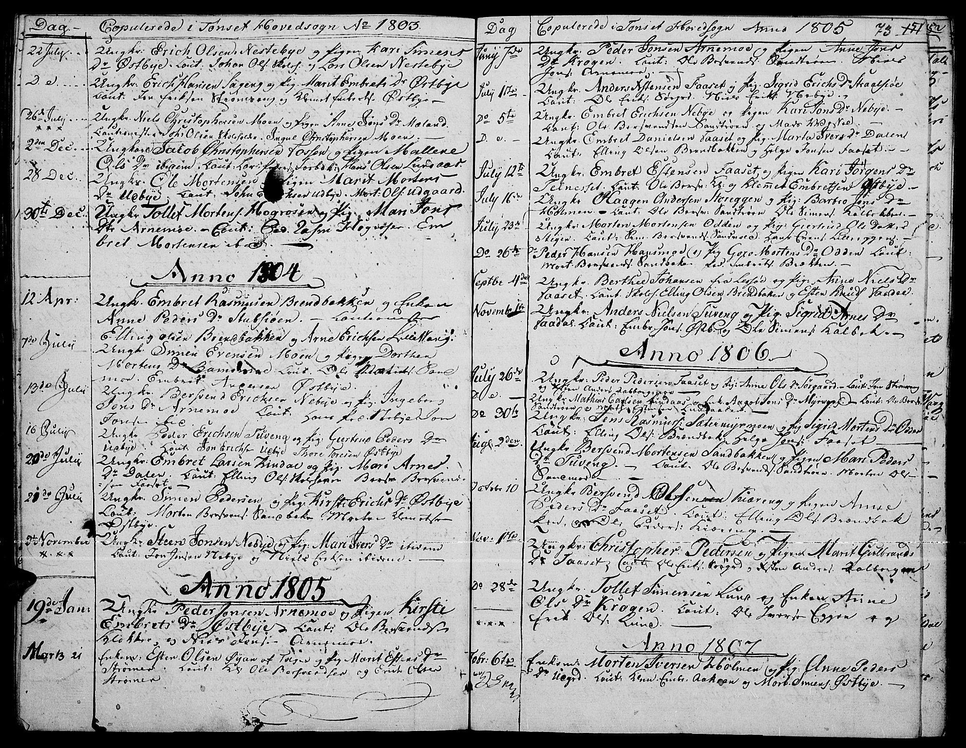 SAH, Tynset prestekontor, Ministerialbok nr. 15, 1801-1814, s. 73