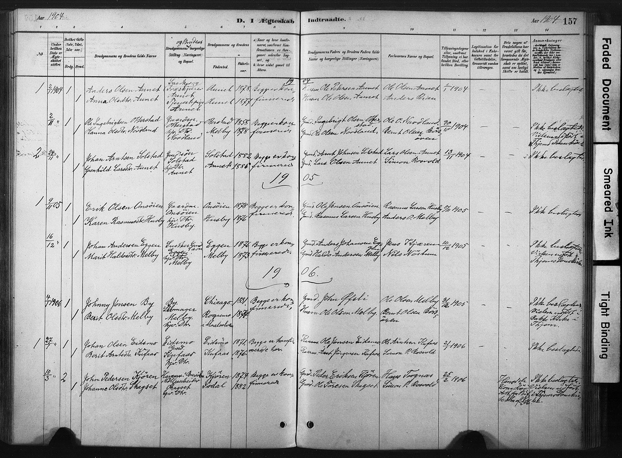SAT, Ministerialprotokoller, klokkerbøker og fødselsregistre - Sør-Trøndelag, 667/L0795: Ministerialbok nr. 667A03, 1879-1907, s. 157