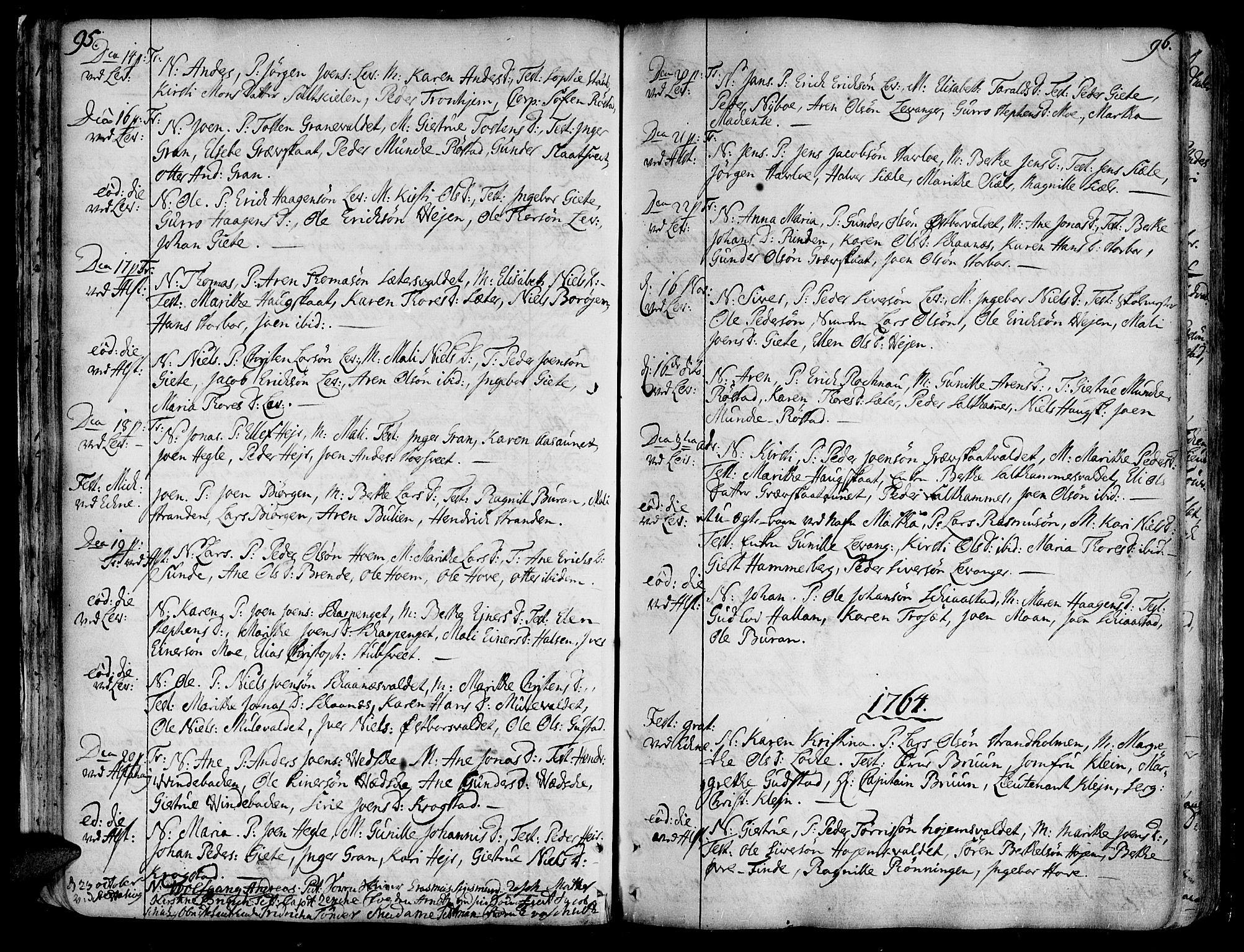 SAT, Ministerialprotokoller, klokkerbøker og fødselsregistre - Nord-Trøndelag, 717/L0141: Ministerialbok nr. 717A01, 1747-1803, s. 95-96