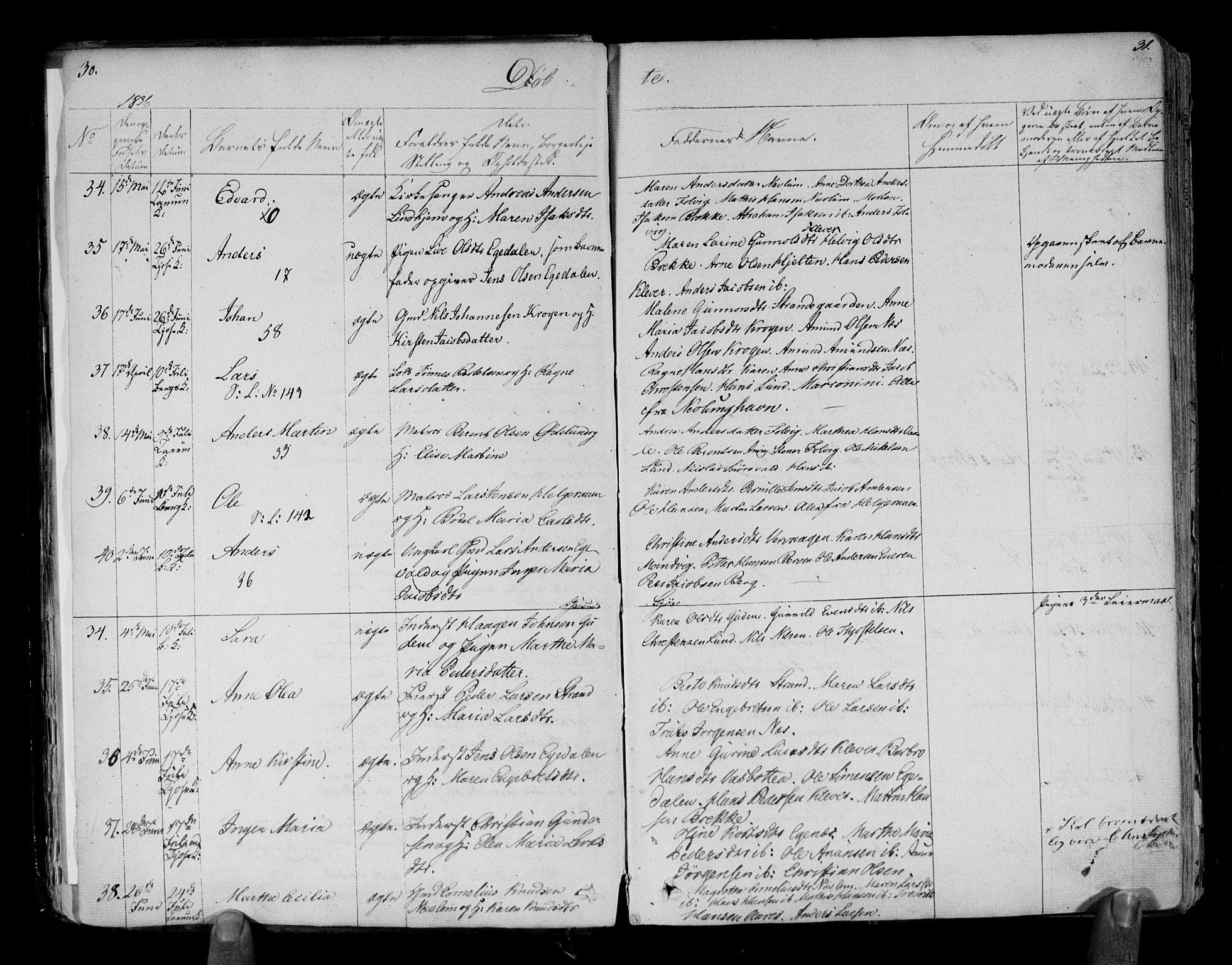 SAKO, Brunlanes kirkebøker, F/Fa/L0003: Ministerialbok nr. I 3, 1834-1845, s. 30-31