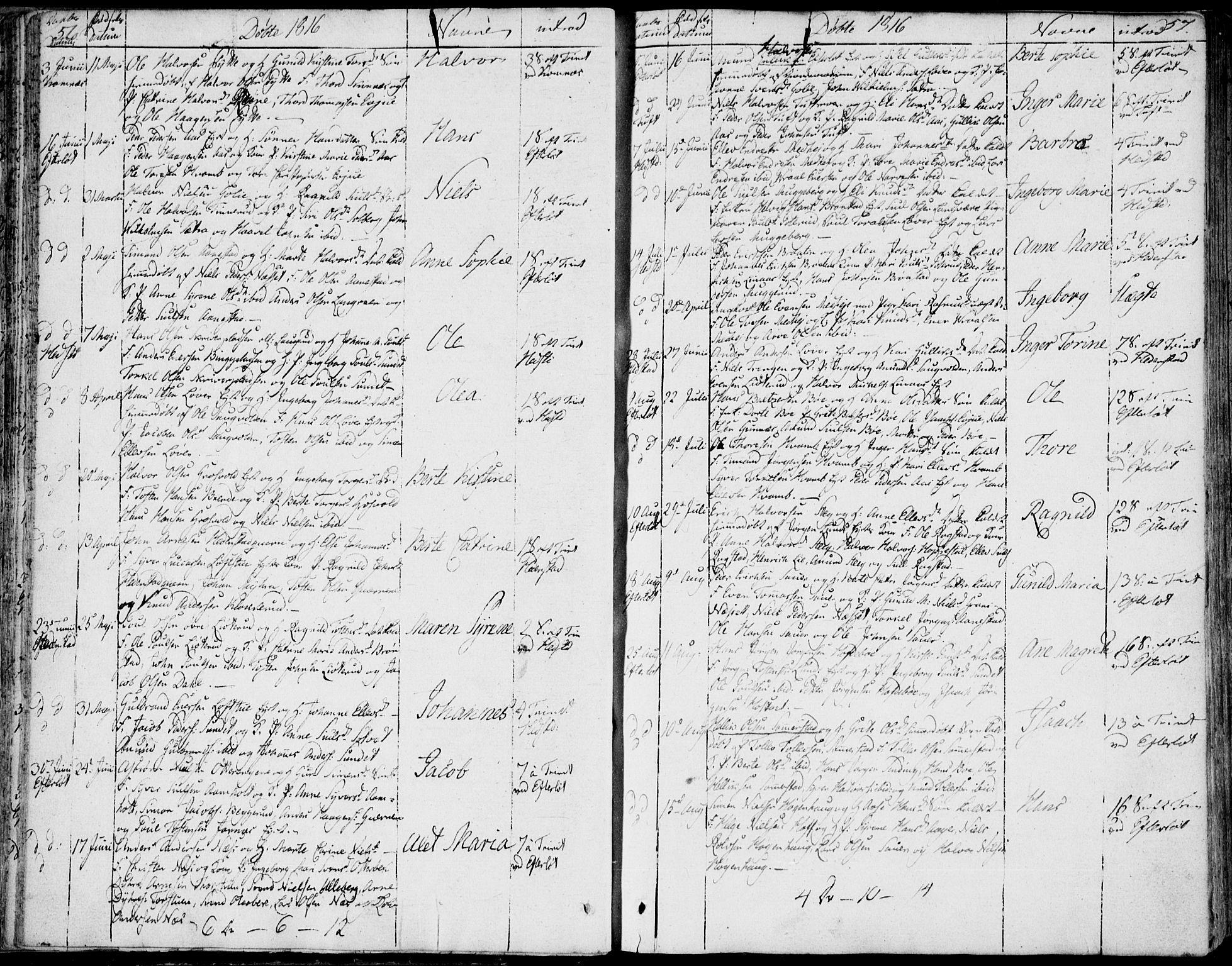 SAKO, Sandsvær kirkebøker, F/Fa/L0003: Ministerialbok nr. I 3, 1809-1817, s. 56-57