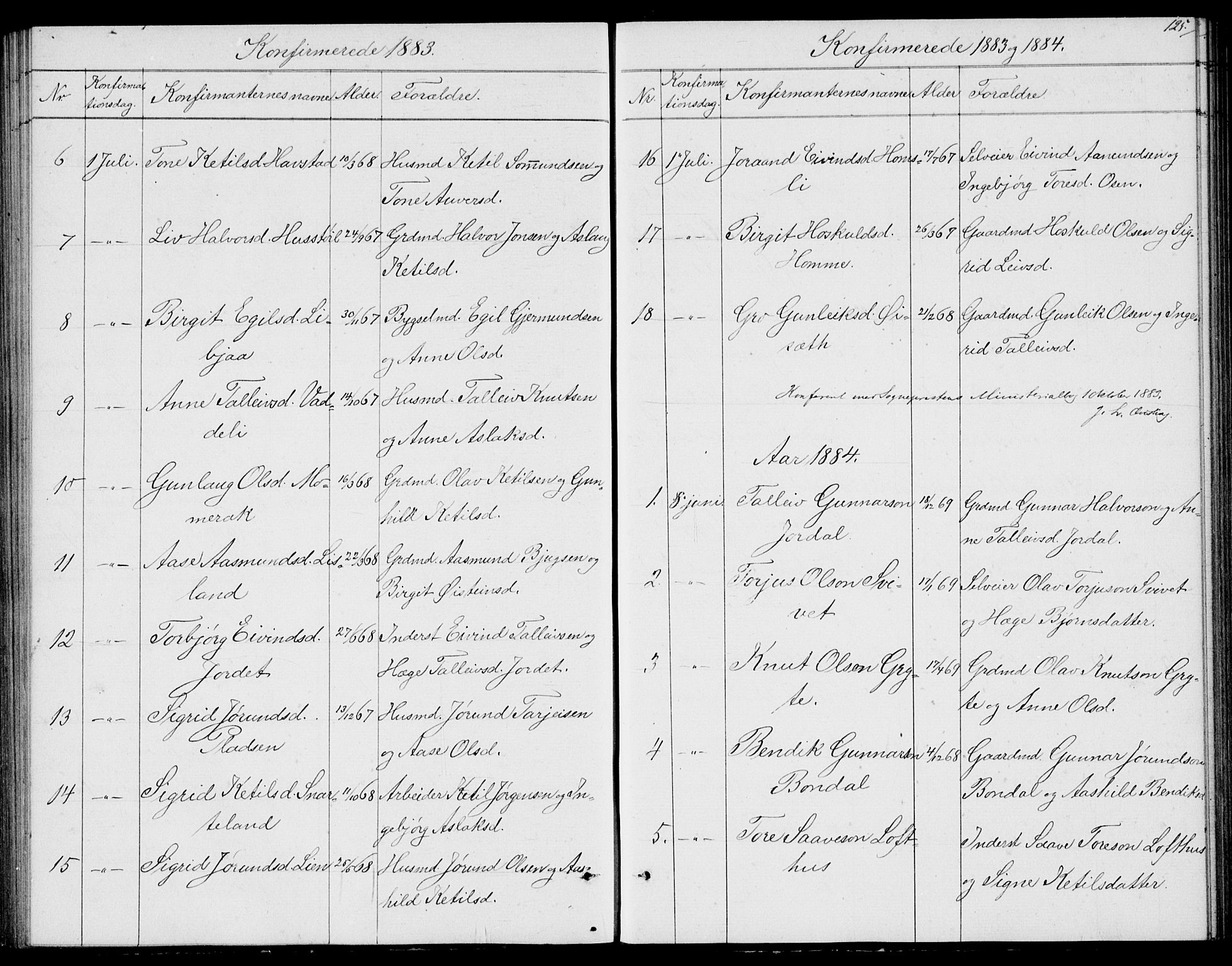 SAKO, Fyresdal kirkebøker, G/Ga/L0004: Klokkerbok nr. I 4, 1864-1892, s. 125