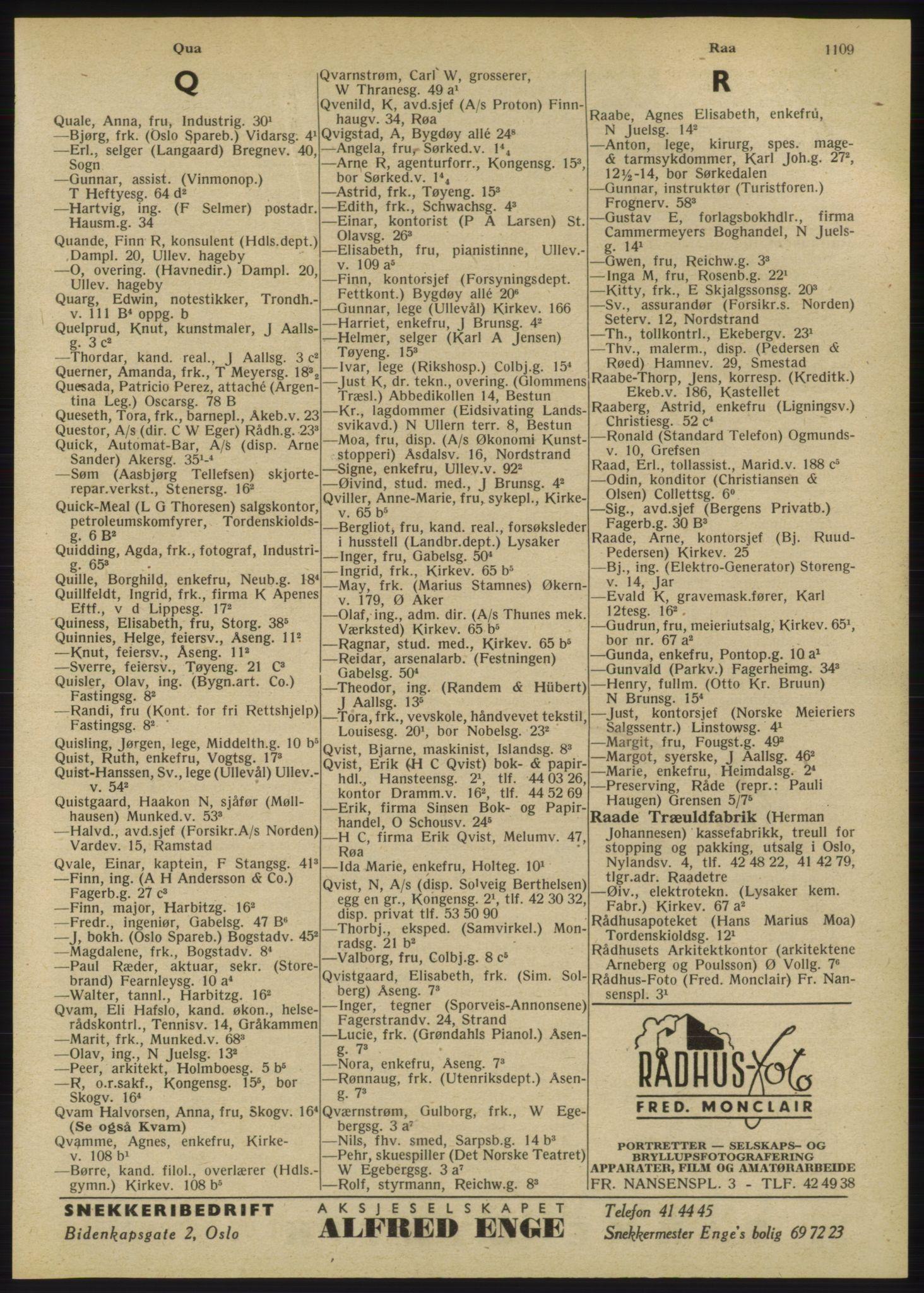 RA, Oslo adressebok (publikasjon)*, 1947, s. 1109