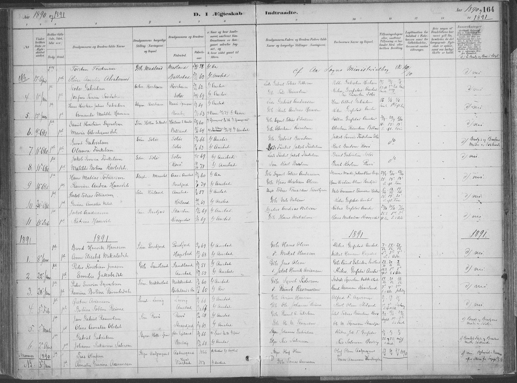 SAK, Lyngdal sokneprestkontor, F/Fa/Faa/L0004: Ministerialbok nr. A 4, 1883-1904, s. 164