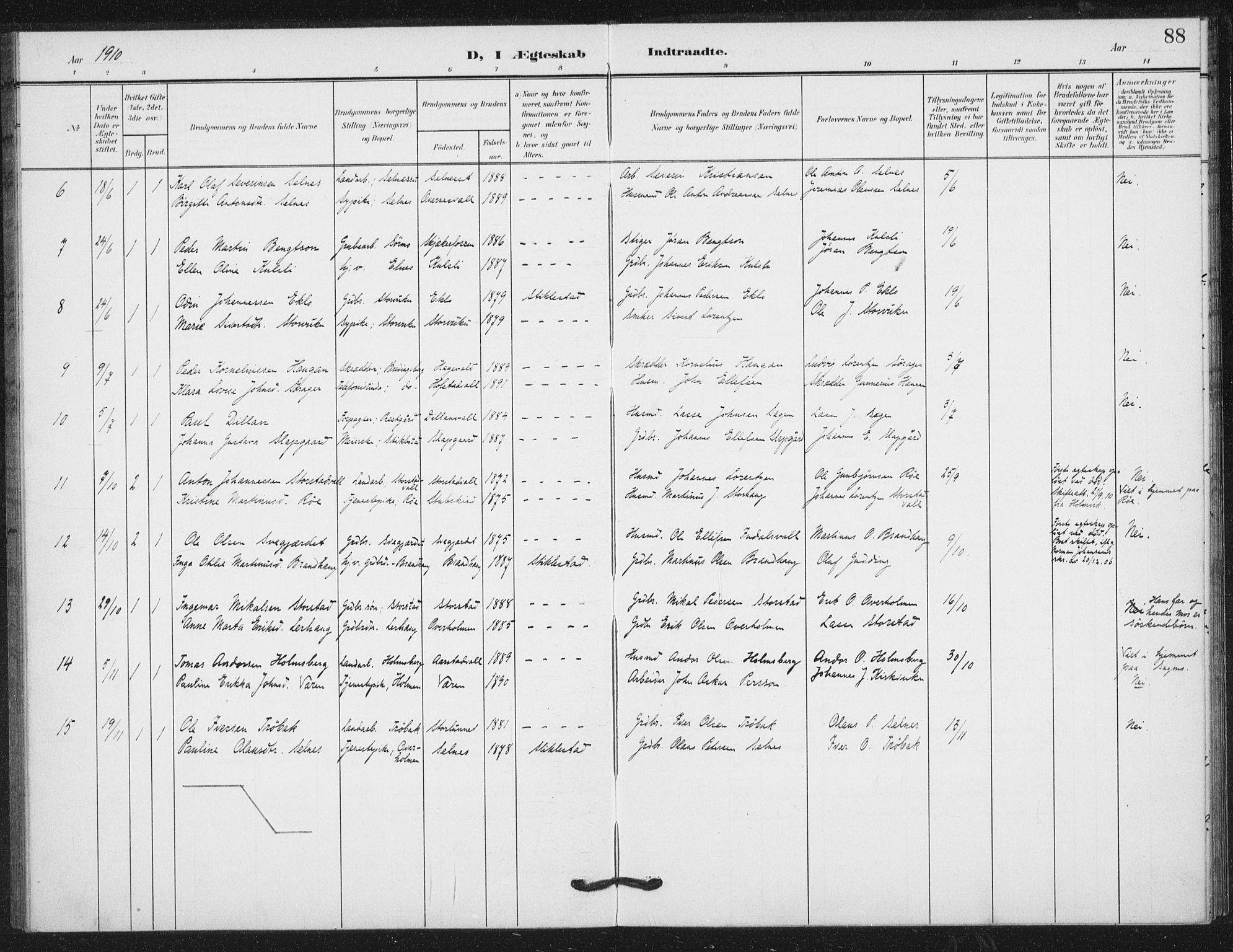 SAT, Ministerialprotokoller, klokkerbøker og fødselsregistre - Nord-Trøndelag, 724/L0264: Ministerialbok nr. 724A02, 1908-1915, s. 88