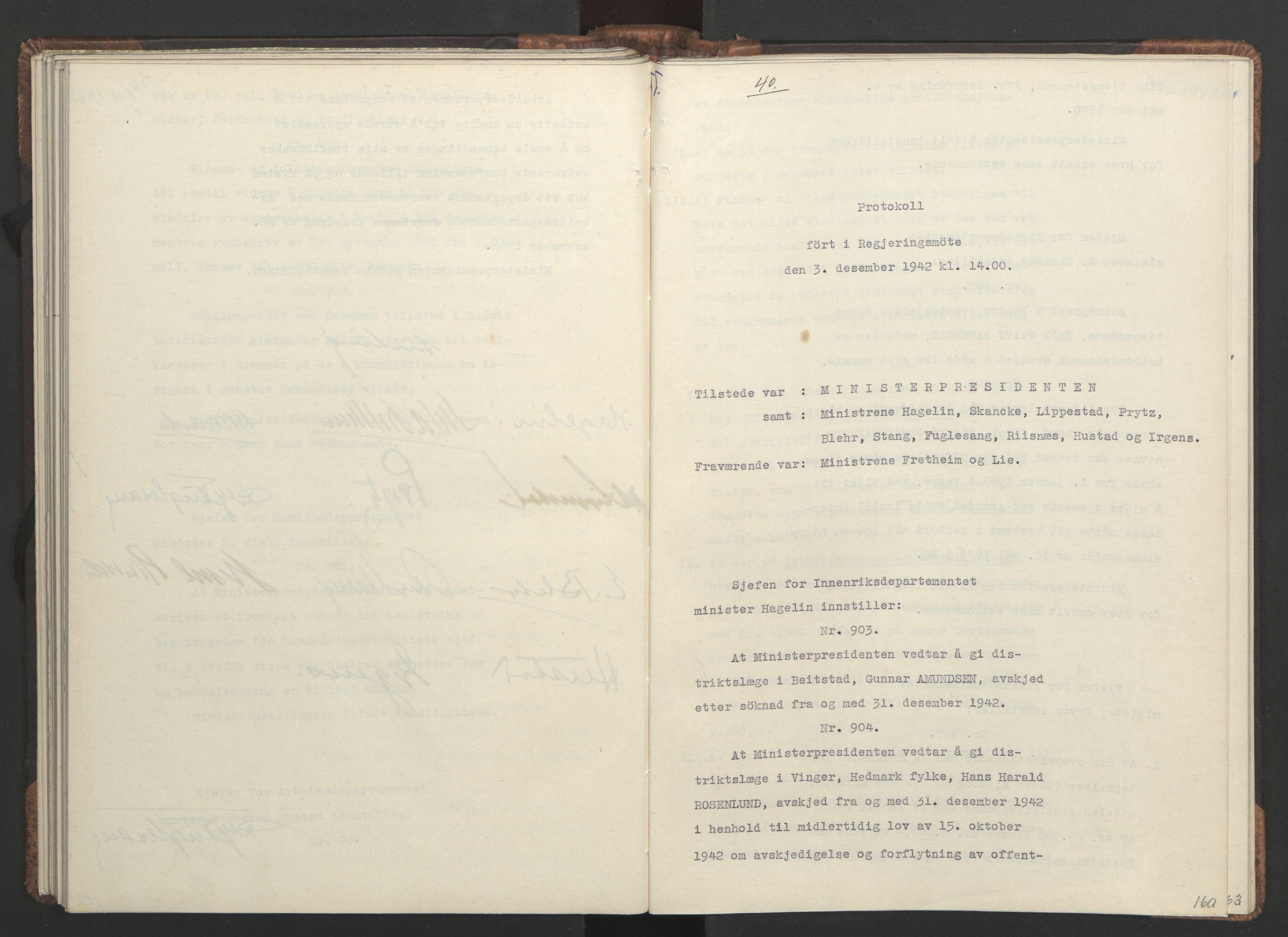 RA, NS-administrasjonen 1940-1945 (Statsrådsekretariatet, de kommisariske statsråder mm), D/Da/L0001: Beslutninger og tillegg (1-952 og 1-32), 1942, s. 159b-160a