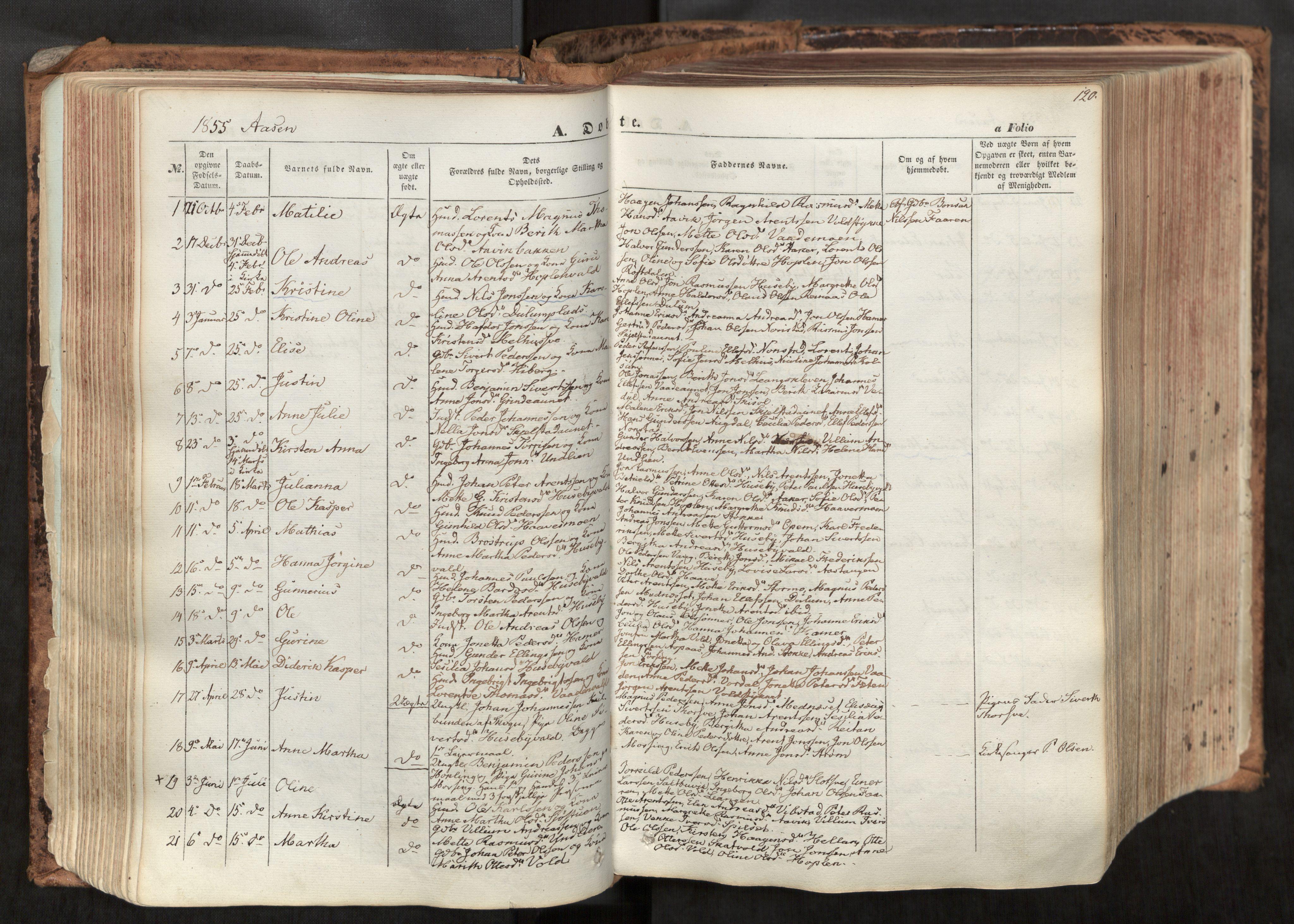 SAT, Ministerialprotokoller, klokkerbøker og fødselsregistre - Nord-Trøndelag, 713/L0116: Ministerialbok nr. 713A07, 1850-1877, s. 120