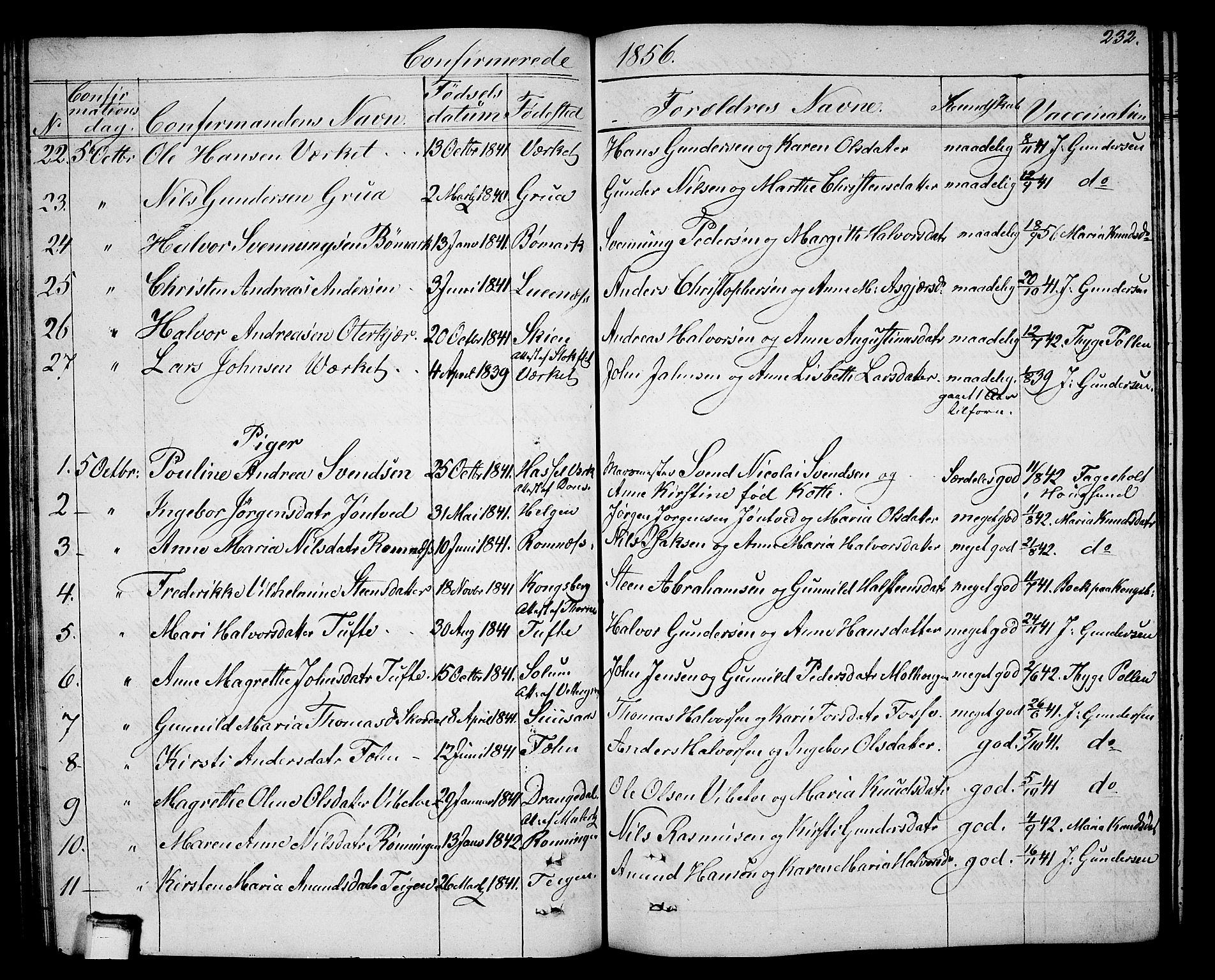 SAKO, Holla kirkebøker, G/Ga/L0003: Klokkerbok nr. I 3, 1849-1866, s. 232
