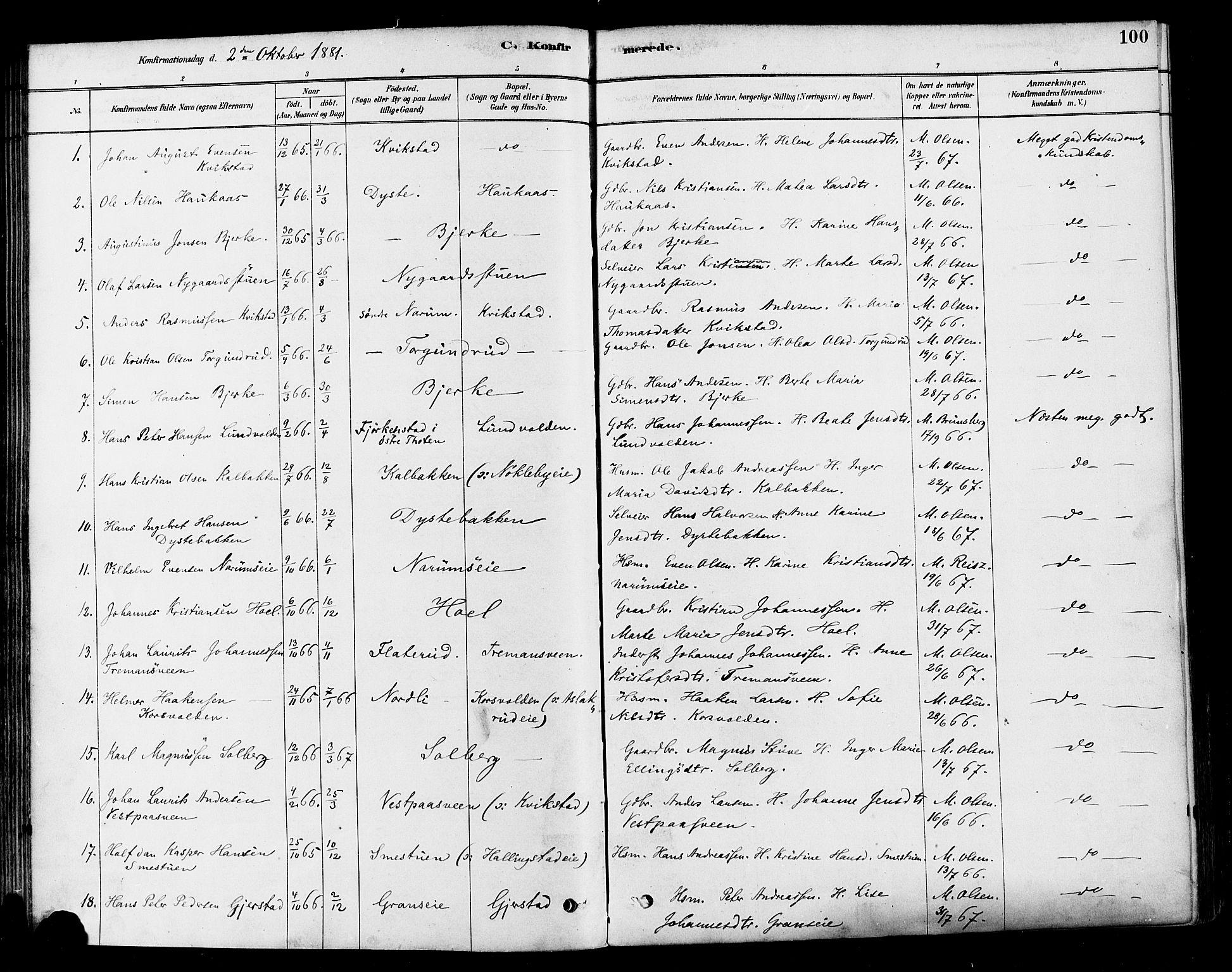 SAH, Vestre Toten prestekontor, Ministerialbok nr. 10, 1878-1894, s. 100