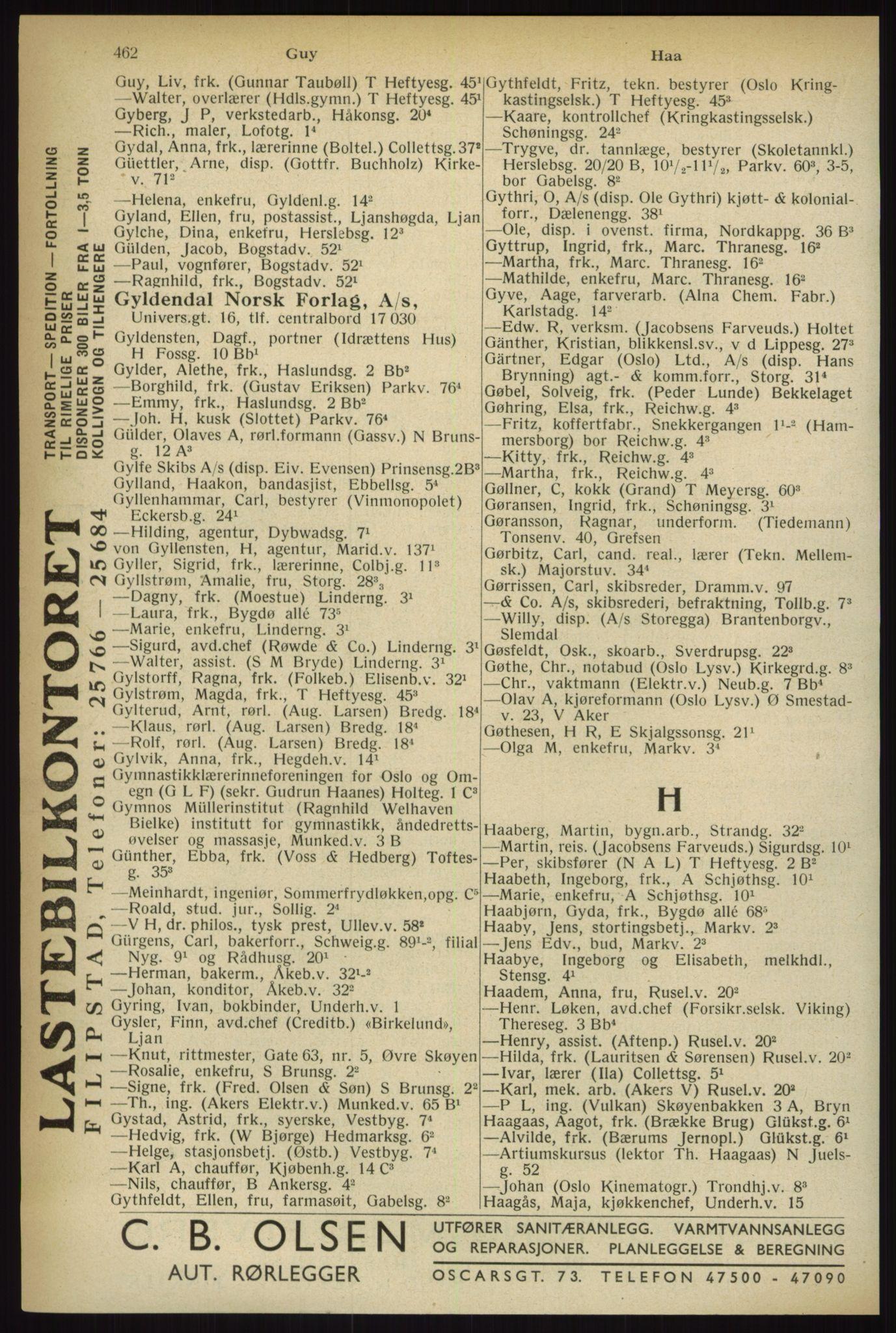 RA, Oslo adressebok (publikasjon)*, 1933, s. 462