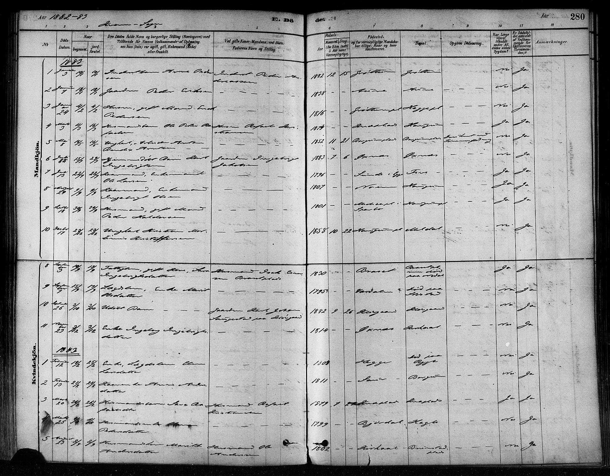 SAT, Ministerialprotokoller, klokkerbøker og fødselsregistre - Nord-Trøndelag, 746/L0449: Ministerialbok nr. 746A07 /2, 1878-1899, s. 280