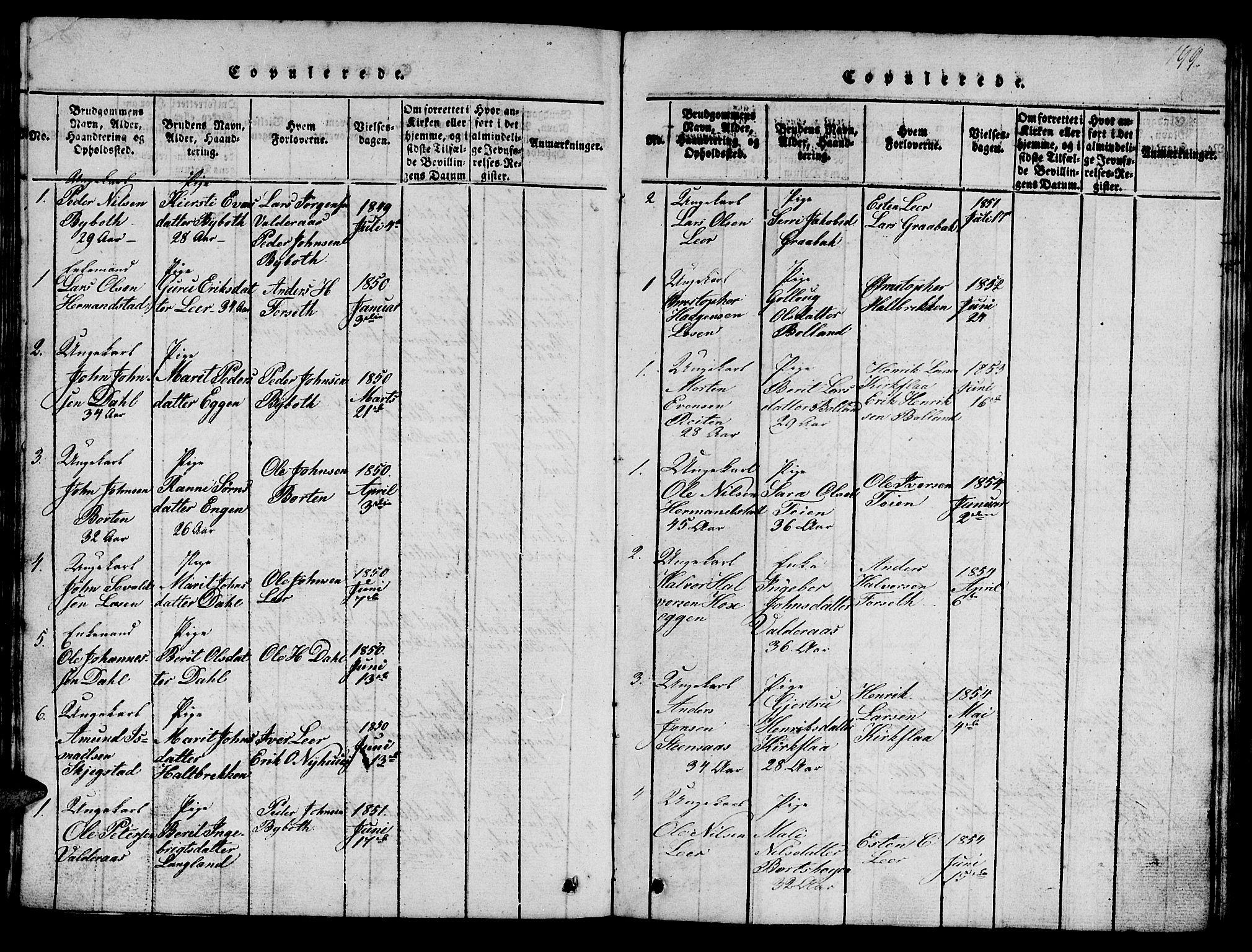 SAT, Ministerialprotokoller, klokkerbøker og fødselsregistre - Sør-Trøndelag, 693/L1121: Klokkerbok nr. 693C02, 1816-1869, s. 199