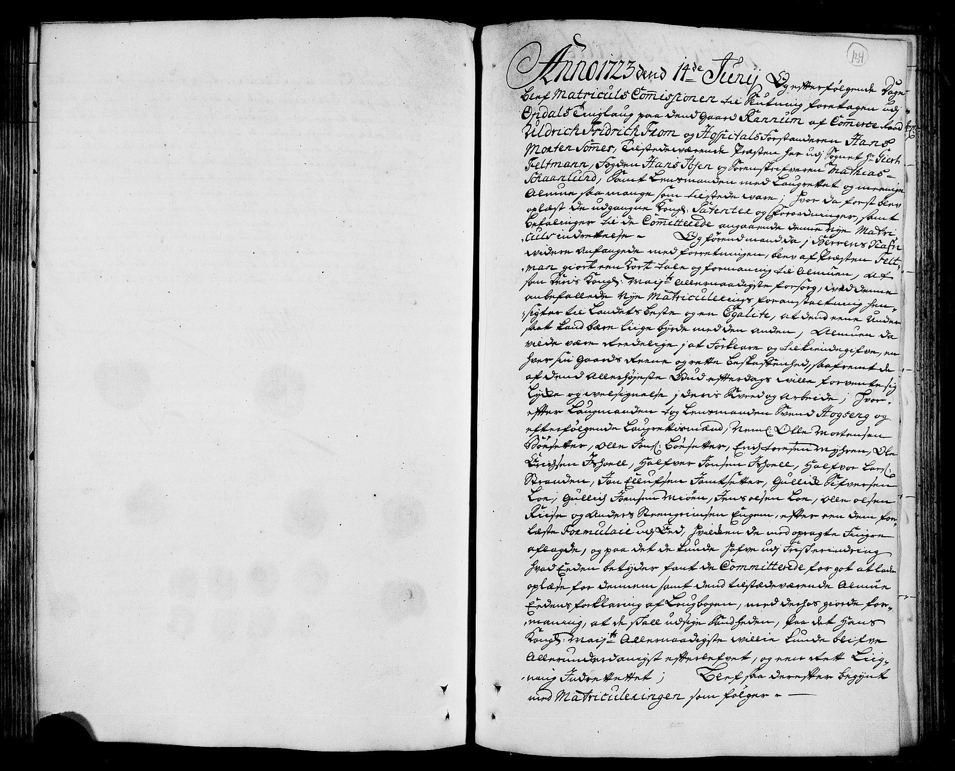 RA, Rentekammeret inntil 1814, Realistisk ordnet avdeling, N/Nb/Nbf/L0156: Orkdal eksaminasjonsprotokoll, 1723, s. 133b-134a