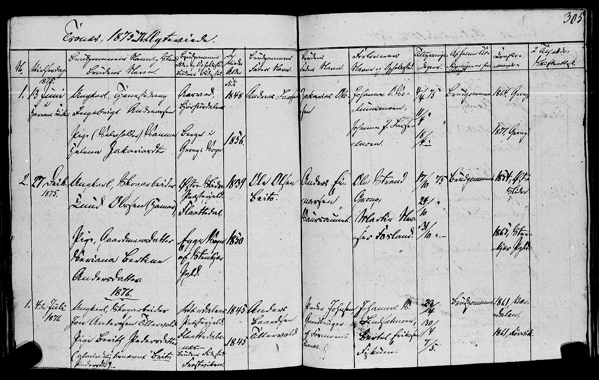 SAT, Ministerialprotokoller, klokkerbøker og fødselsregistre - Nord-Trøndelag, 762/L0538: Ministerialbok nr. 762A02 /2, 1833-1879, s. 305