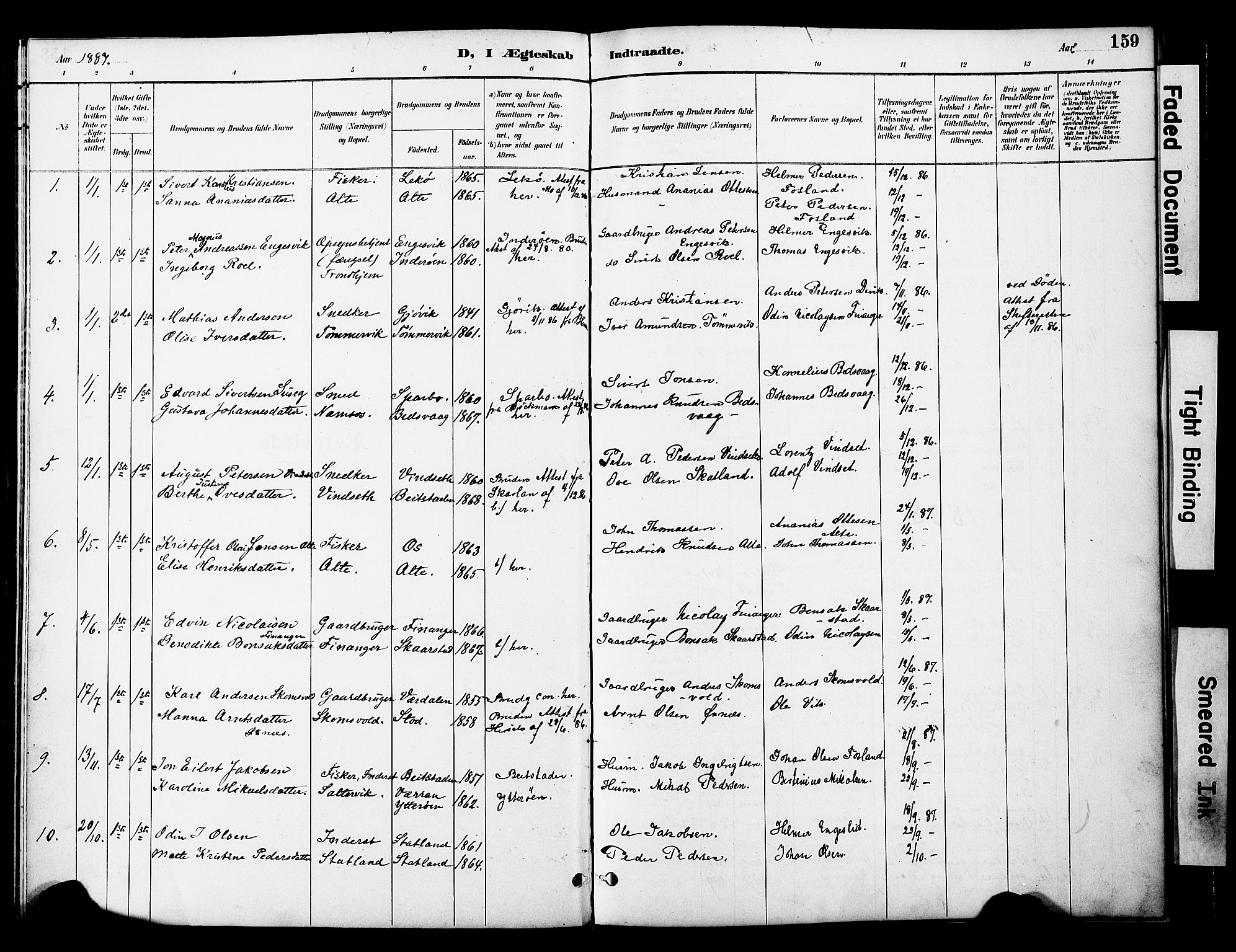 SAT, Ministerialprotokoller, klokkerbøker og fødselsregistre - Nord-Trøndelag, 774/L0628: Ministerialbok nr. 774A02, 1887-1903, s. 159