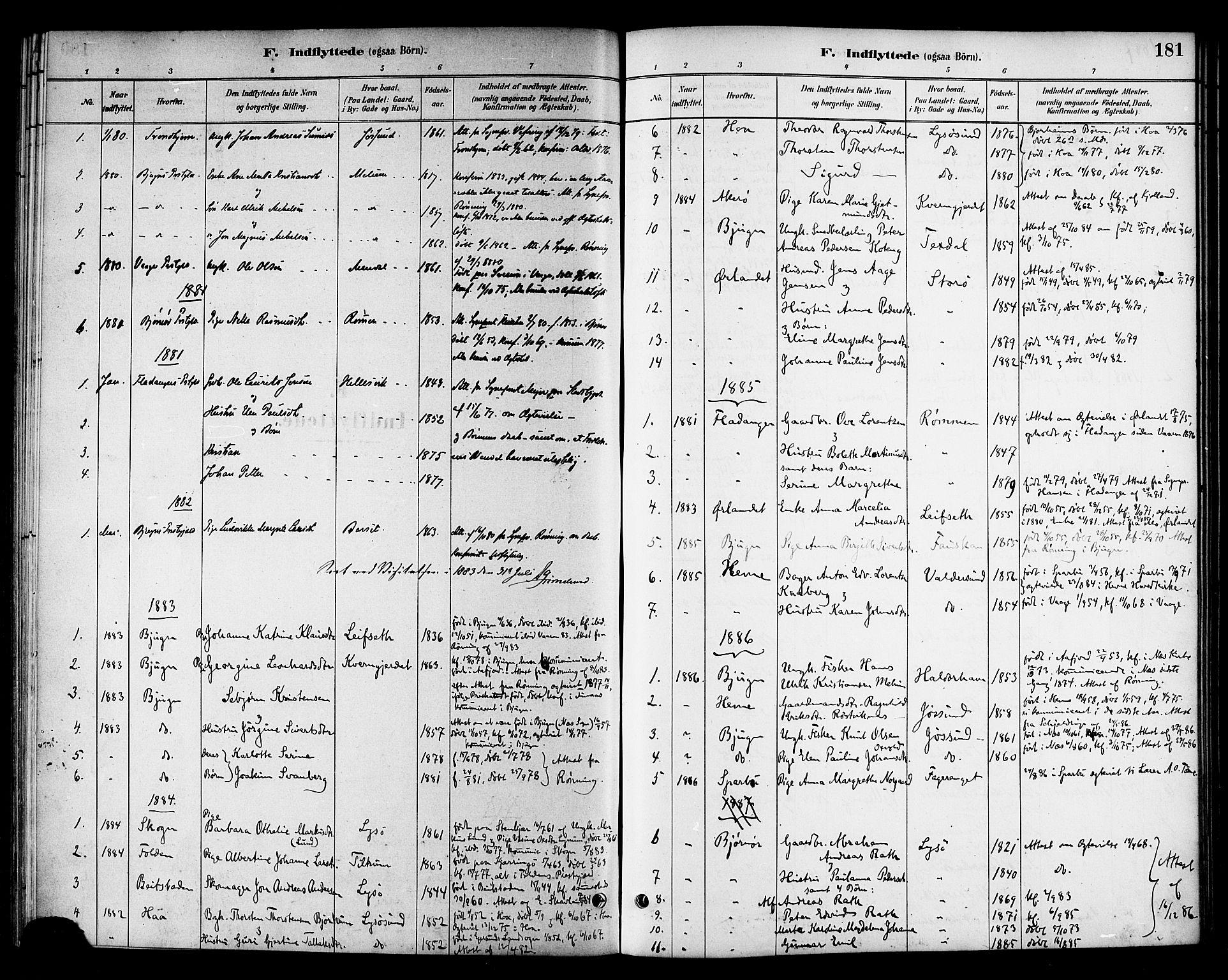 SAT, Ministerialprotokoller, klokkerbøker og fødselsregistre - Sør-Trøndelag, 654/L0663: Ministerialbok nr. 654A01, 1880-1894, s. 181