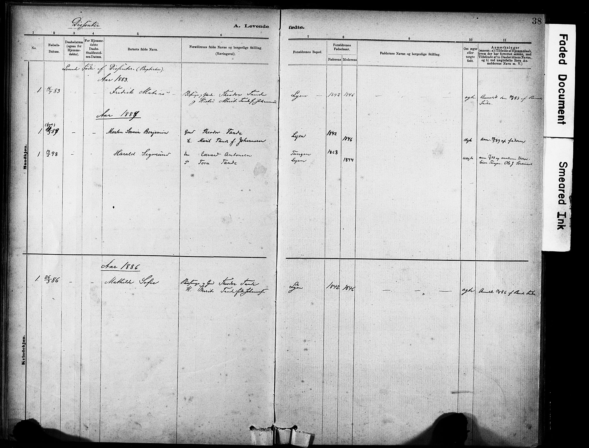 SAT, Ministerialprotokoller, klokkerbøker og fødselsregistre - Sør-Trøndelag, 635/L0551: Ministerialbok nr. 635A01, 1882-1899, s. 38