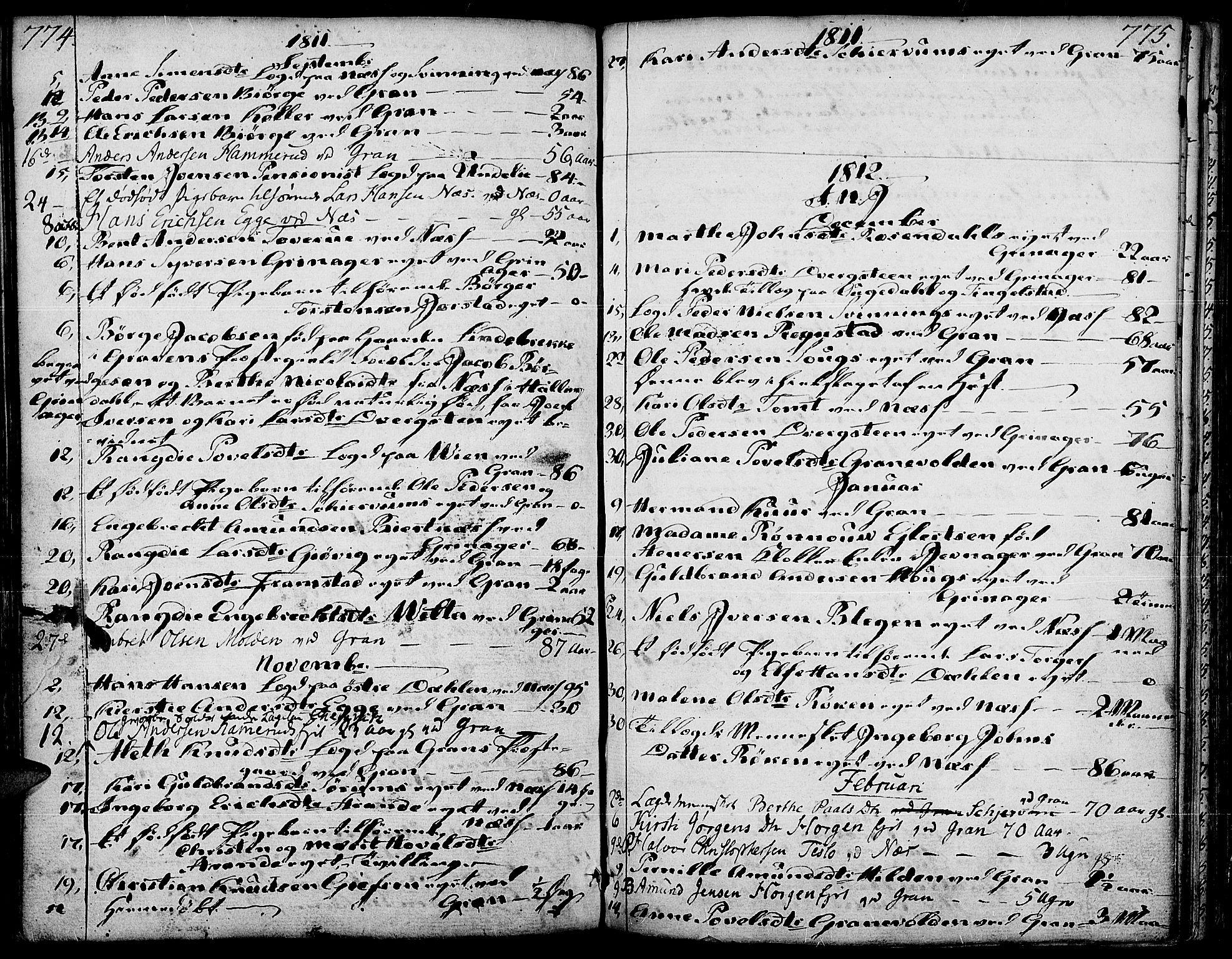 SAH, Gran prestekontor, Ministerialbok nr. 6, 1787-1824, s. 774-775