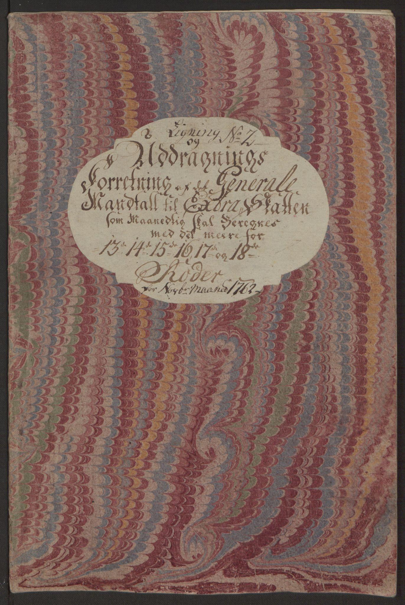 RA, Rentekammeret inntil 1814, Reviderte regnskaper, Byregnskaper, R/Rp/L0365: [P20] Kontribusjonsregnskap, 1762, s. 217