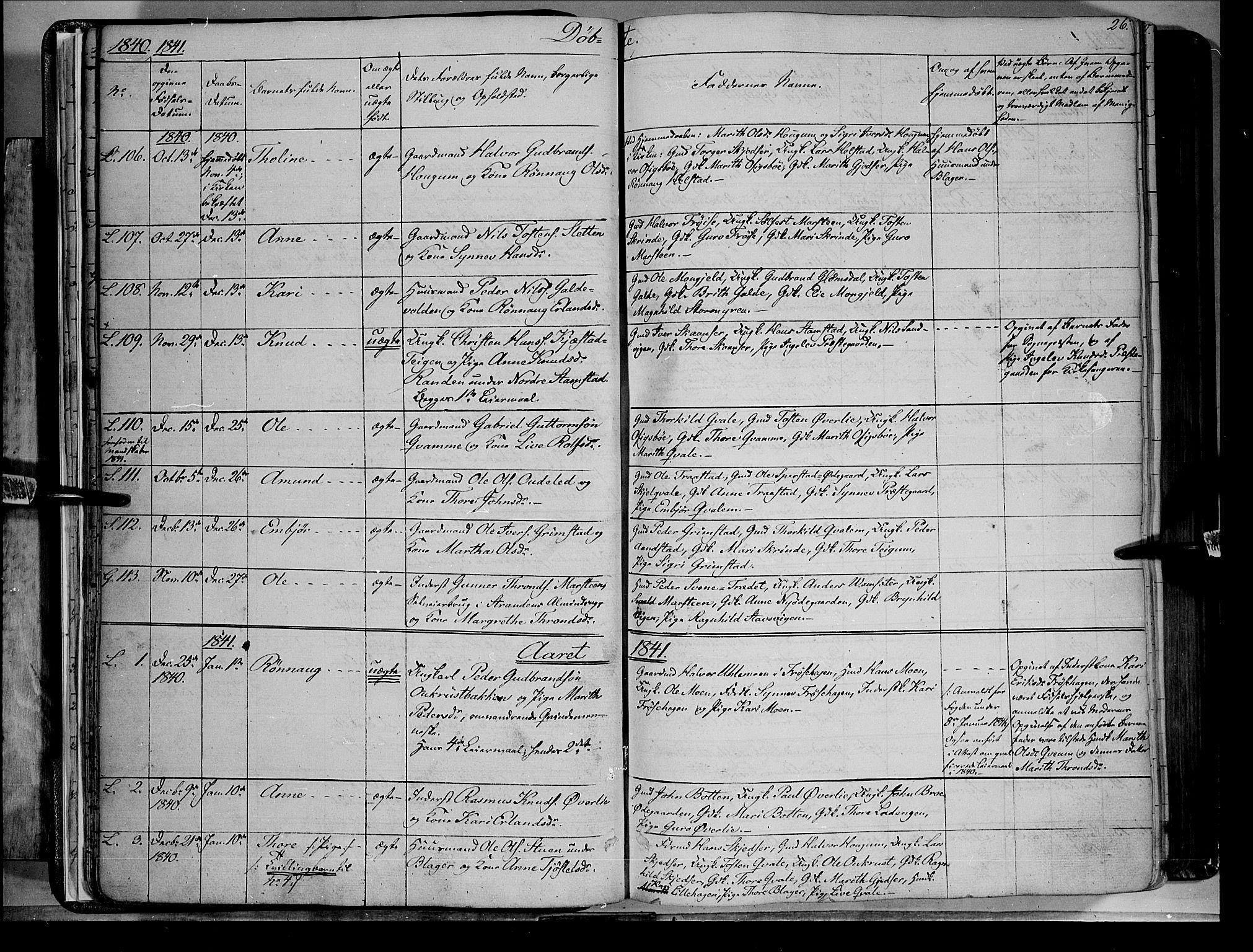 SAH, Lom prestekontor, K/L0006: Ministerialbok nr. 6A, 1837-1863, s. 26