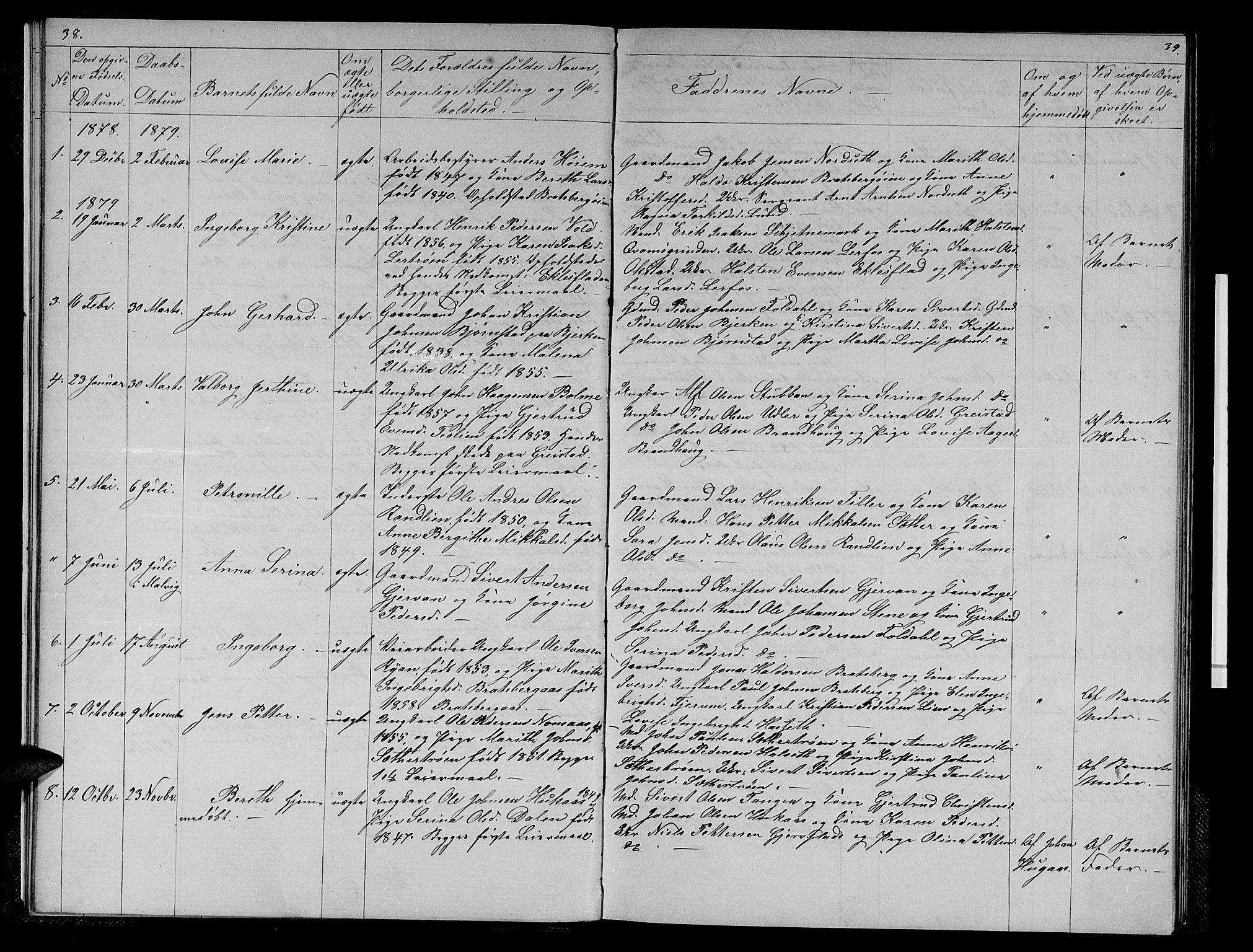 SAT, Ministerialprotokoller, klokkerbøker og fødselsregistre - Sør-Trøndelag, 608/L0340: Klokkerbok nr. 608C06, 1864-1889, s. 38-39