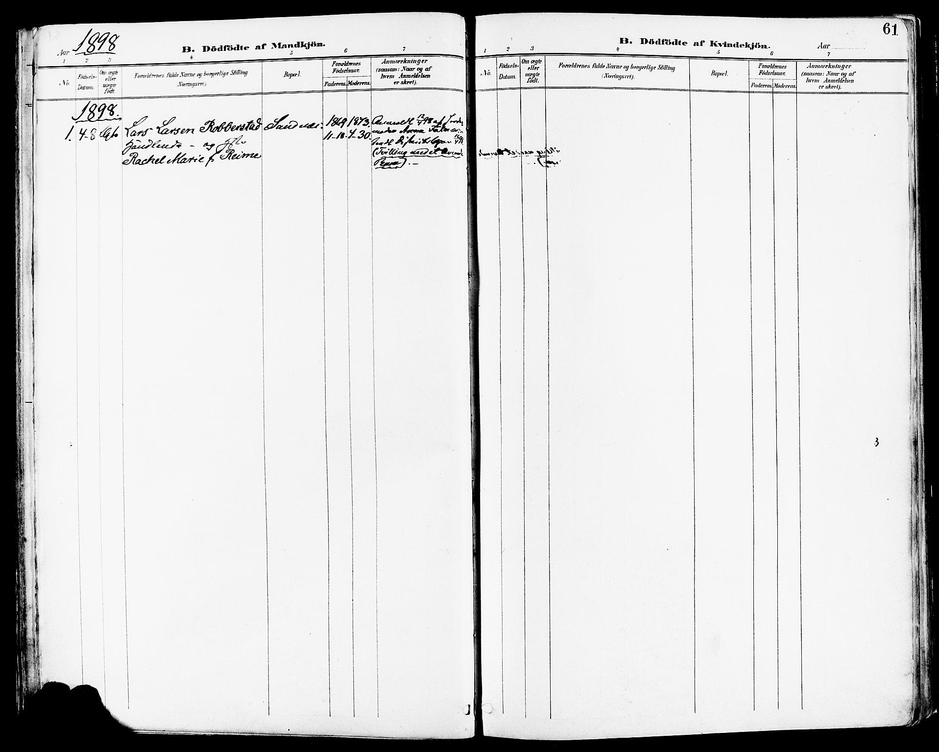 SAST, Høyland sokneprestkontor, 30BA/L0014: Ministerialbok nr. A 12, 1890-1898, s. 61