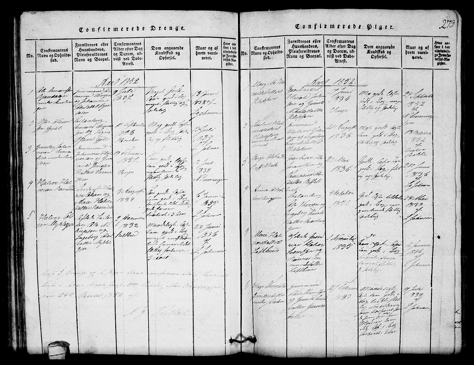 SAKO, Lårdal kirkebøker, G/Gb/L0001: Klokkerbok nr. II 1, 1815-1865, s. 273