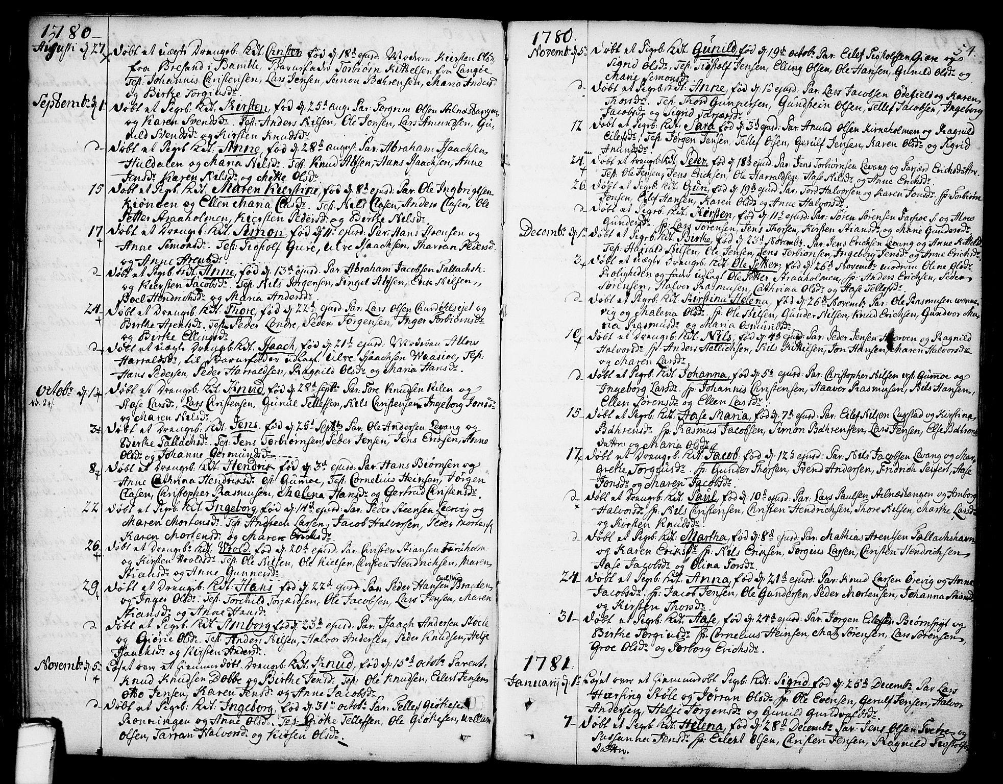 SAKO, Sannidal kirkebøker, F/Fa/L0002: Ministerialbok nr. 2, 1767-1802, s. 54
