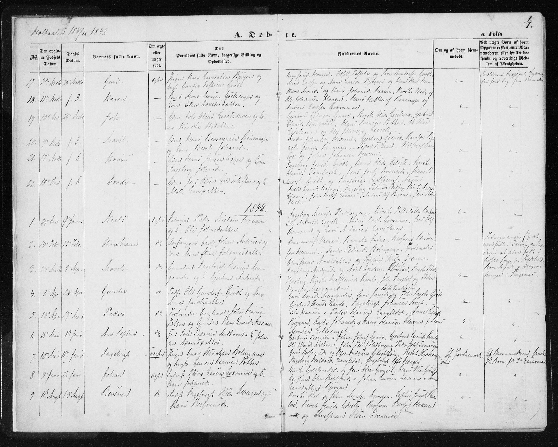 SAT, Ministerialprotokoller, klokkerbøker og fødselsregistre - Sør-Trøndelag, 685/L0963: Ministerialbok nr. 685A06 /1, 1846-1859, s. 4