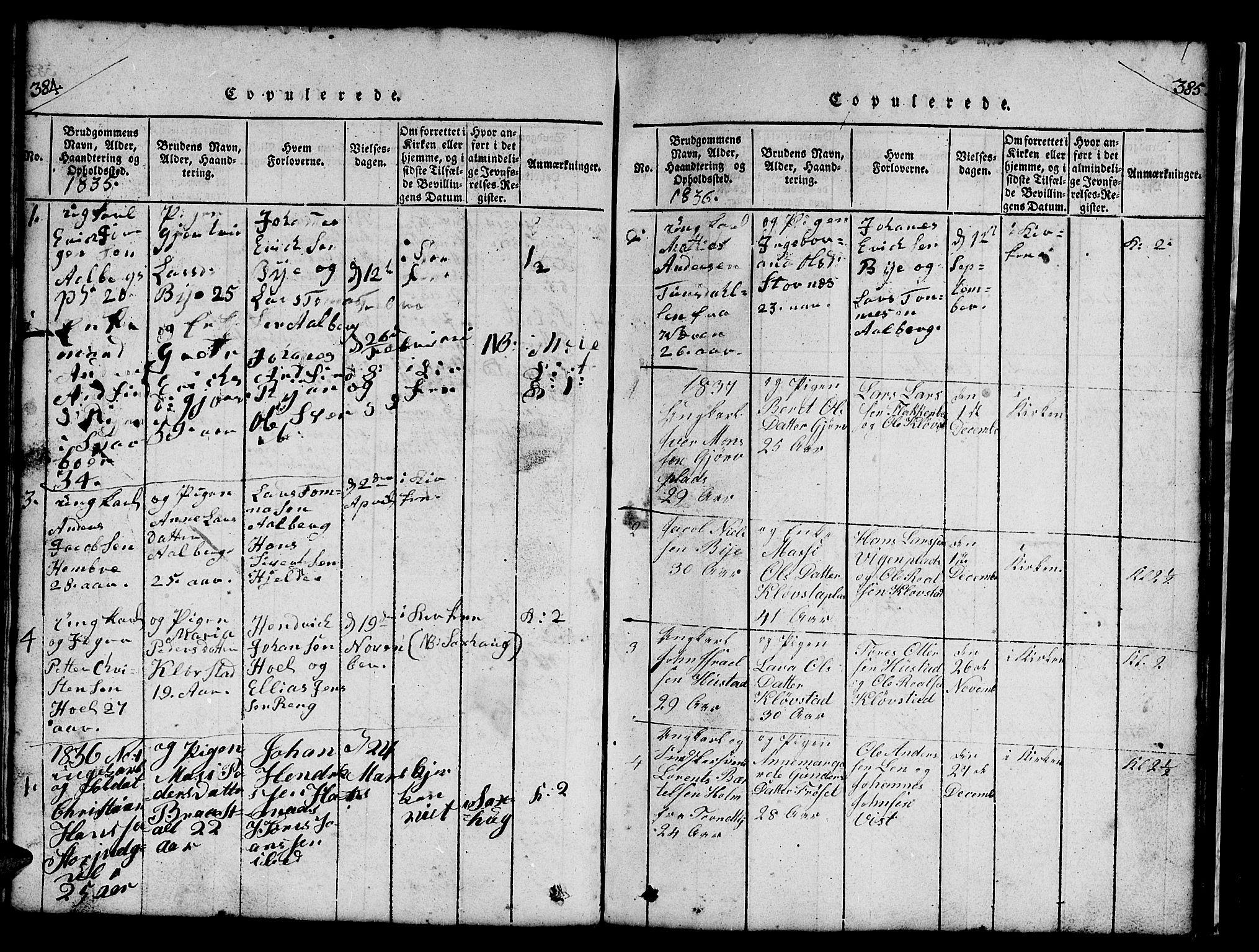 SAT, Ministerialprotokoller, klokkerbøker og fødselsregistre - Nord-Trøndelag, 732/L0317: Klokkerbok nr. 732C01, 1816-1881, s. 384-385