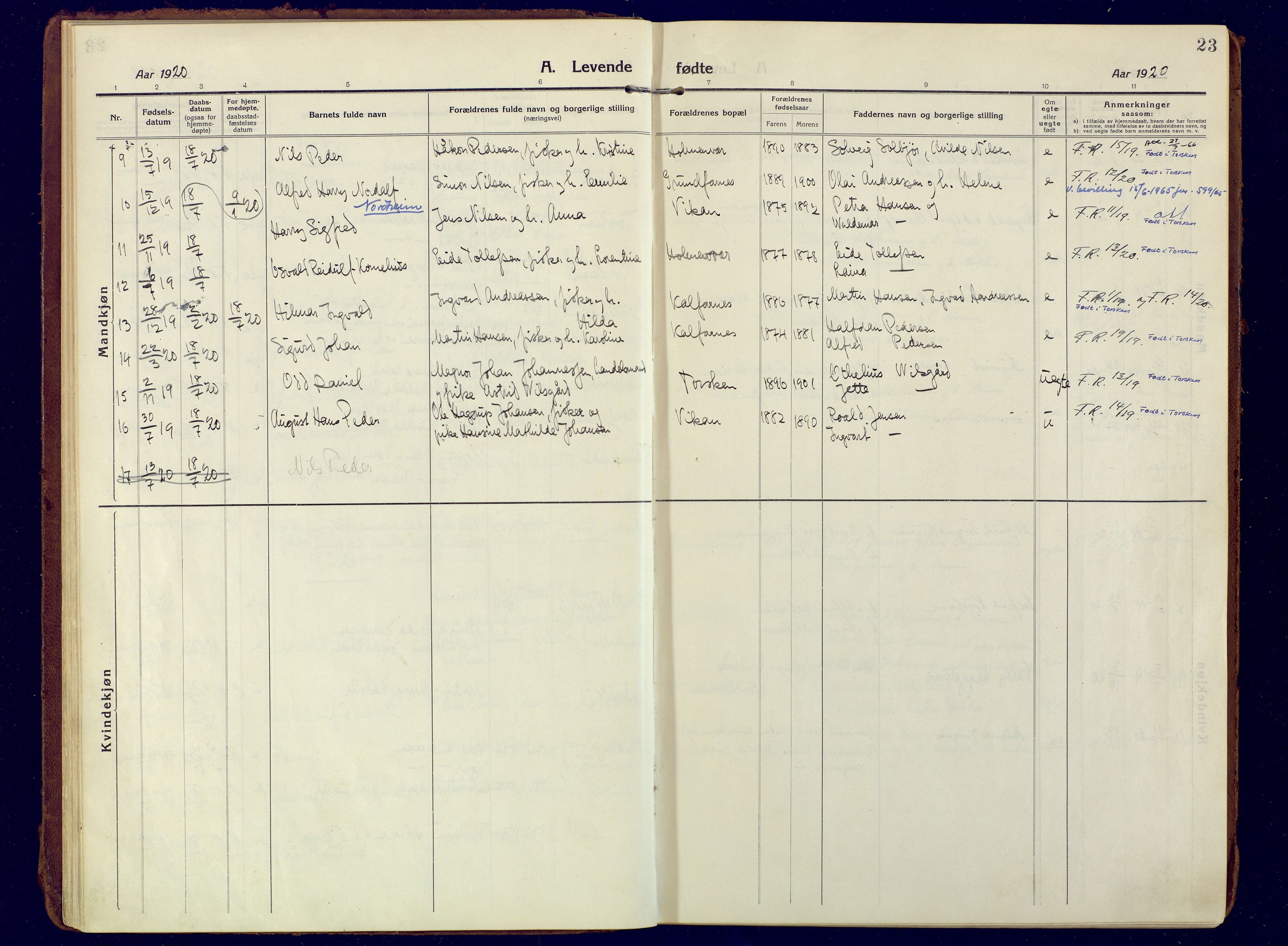 SATØ, Mefjord/Berg sokneprestkontor, G/Ga/Gaa: Ministerialbok nr. 10, 1916-1928, s. 23