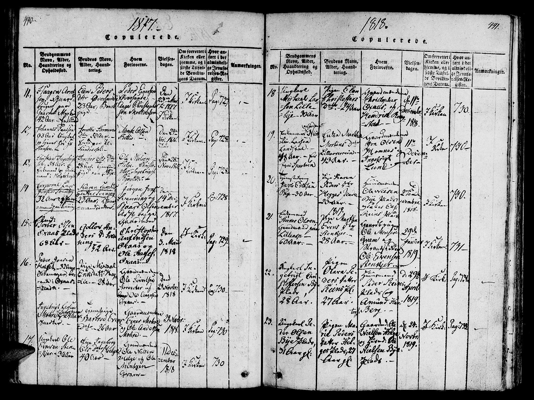 SAT, Ministerialprotokoller, klokkerbøker og fødselsregistre - Nord-Trøndelag, 746/L0441: Ministerialbok nr. 736A03 /3, 1816-1827, s. 440-441