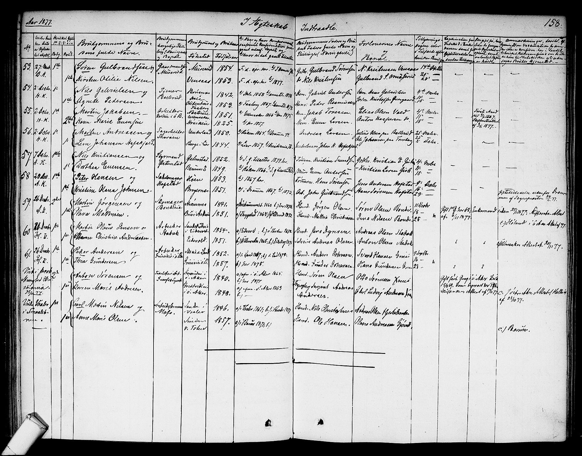 SAO, Asker prestekontor Kirkebøker, F/Fa/L0010: Ministerialbok nr. I 10, 1825-1878, s. 158