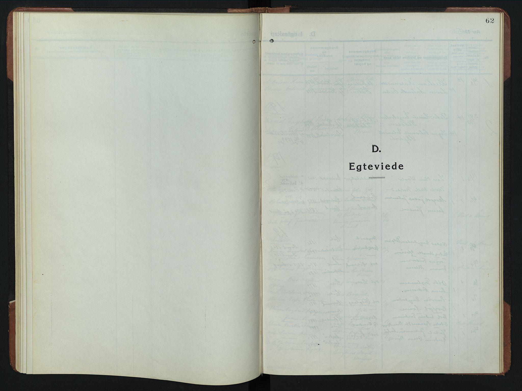 SAH, Rendalen prestekontor, H/Ha/Hab/L0008: Klokkerbok nr. 8, 1914-1948, s. 62